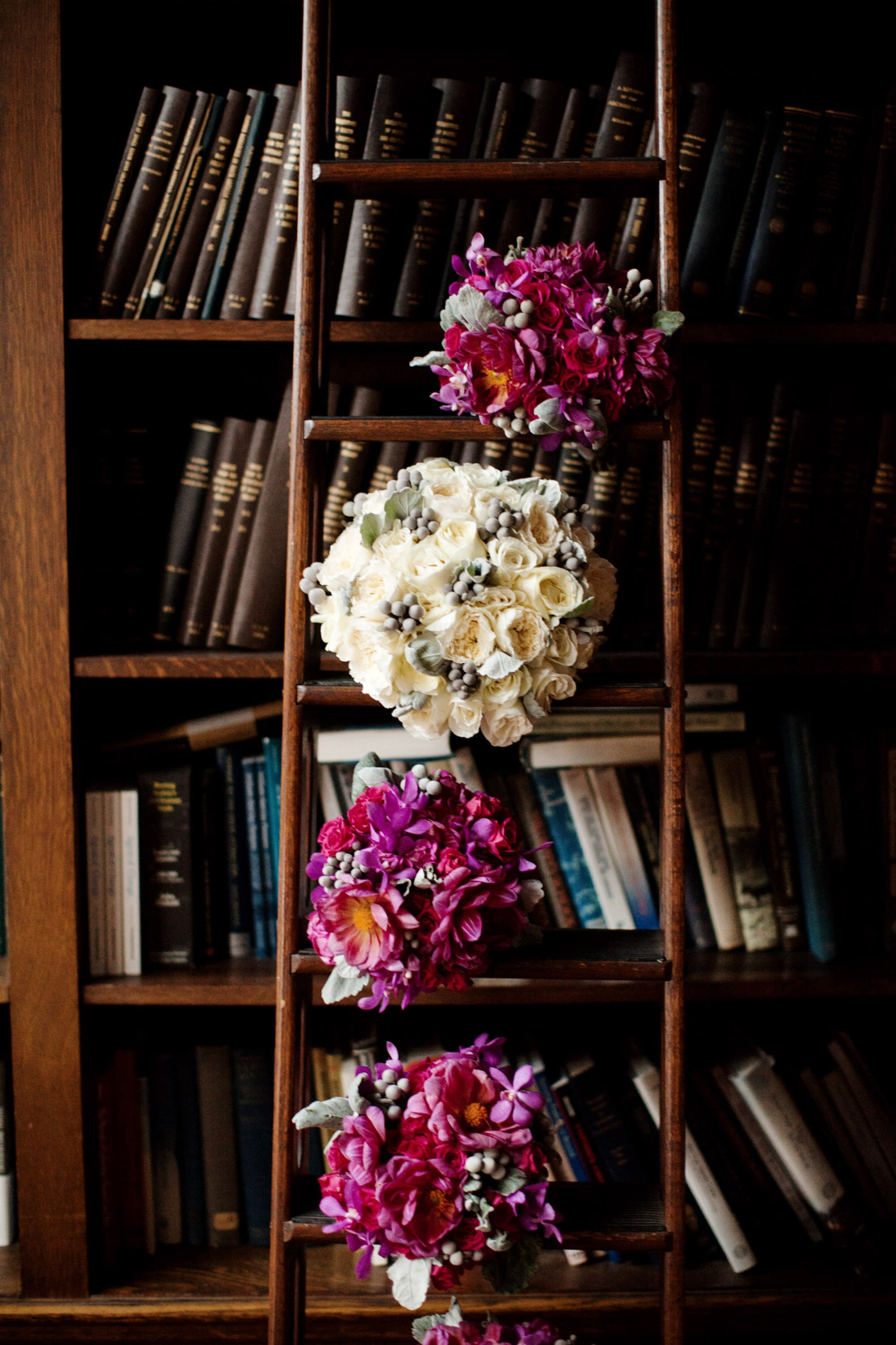 The bridal party bouquets in the library of the Carnegie Institute for Science.