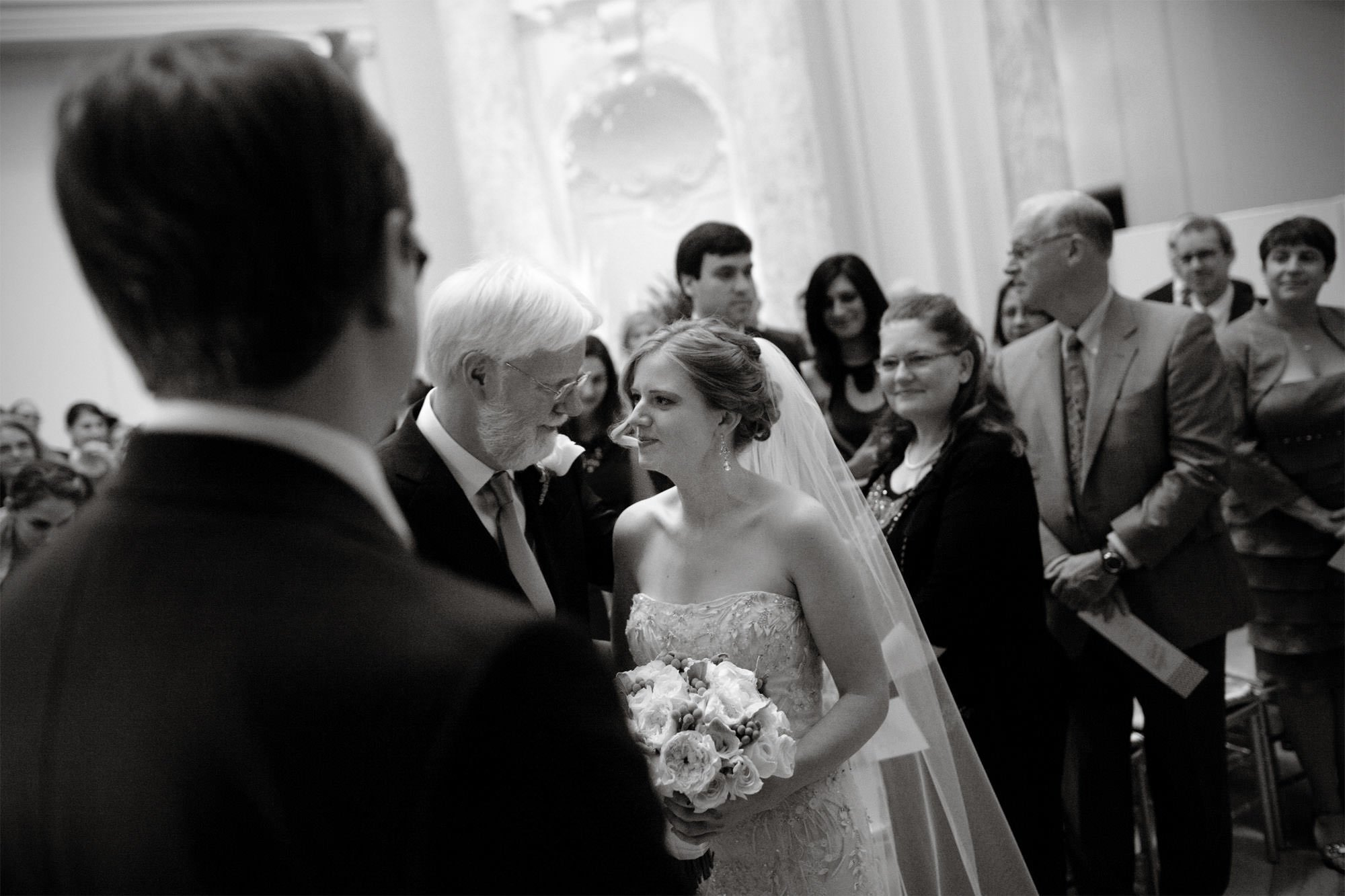 The bride looks at her father during the Carnegie Institute for Science Wedding ceremony.