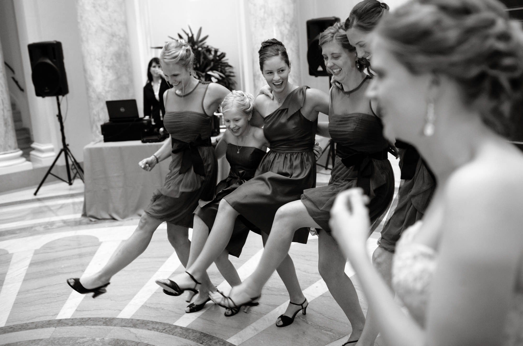 The wedding party dances during the Carnegie Institute for Science Wedding reception.