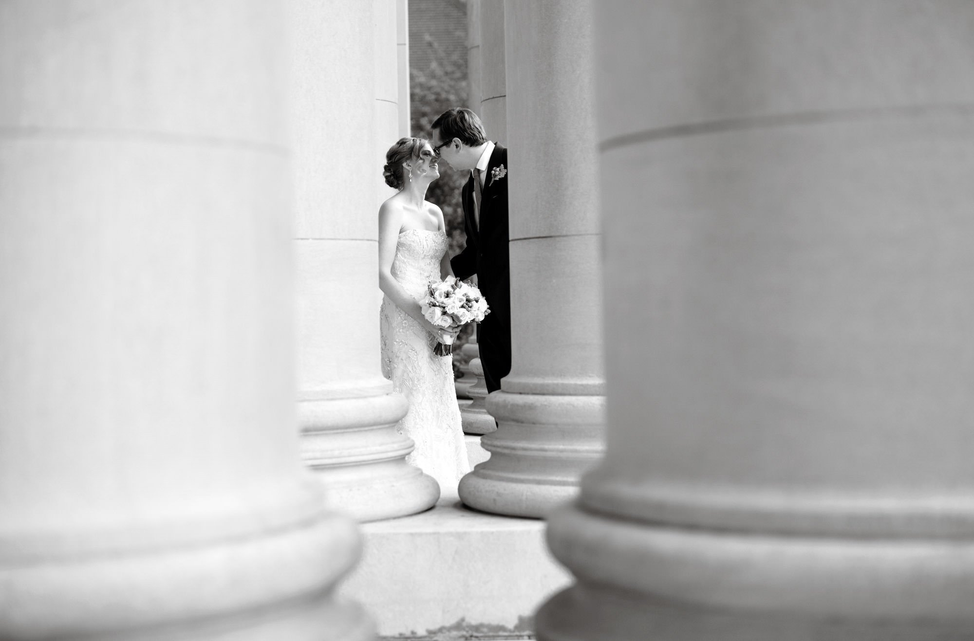 The couple shares a kiss after the Carnegie Institute for Science Wedding ceremony.