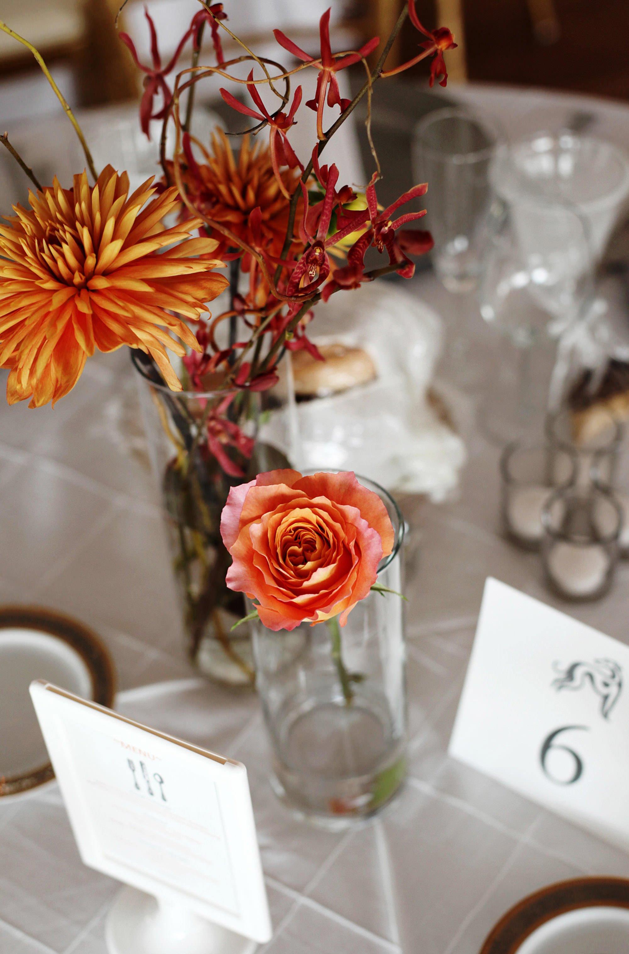 Floral centerpieces.