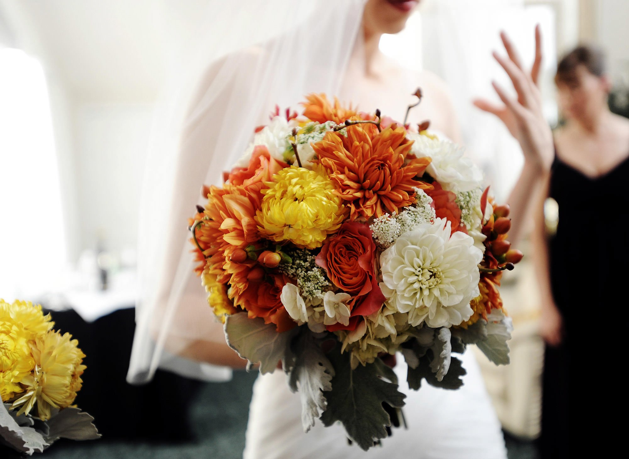 A detail of the bride's bouquet.