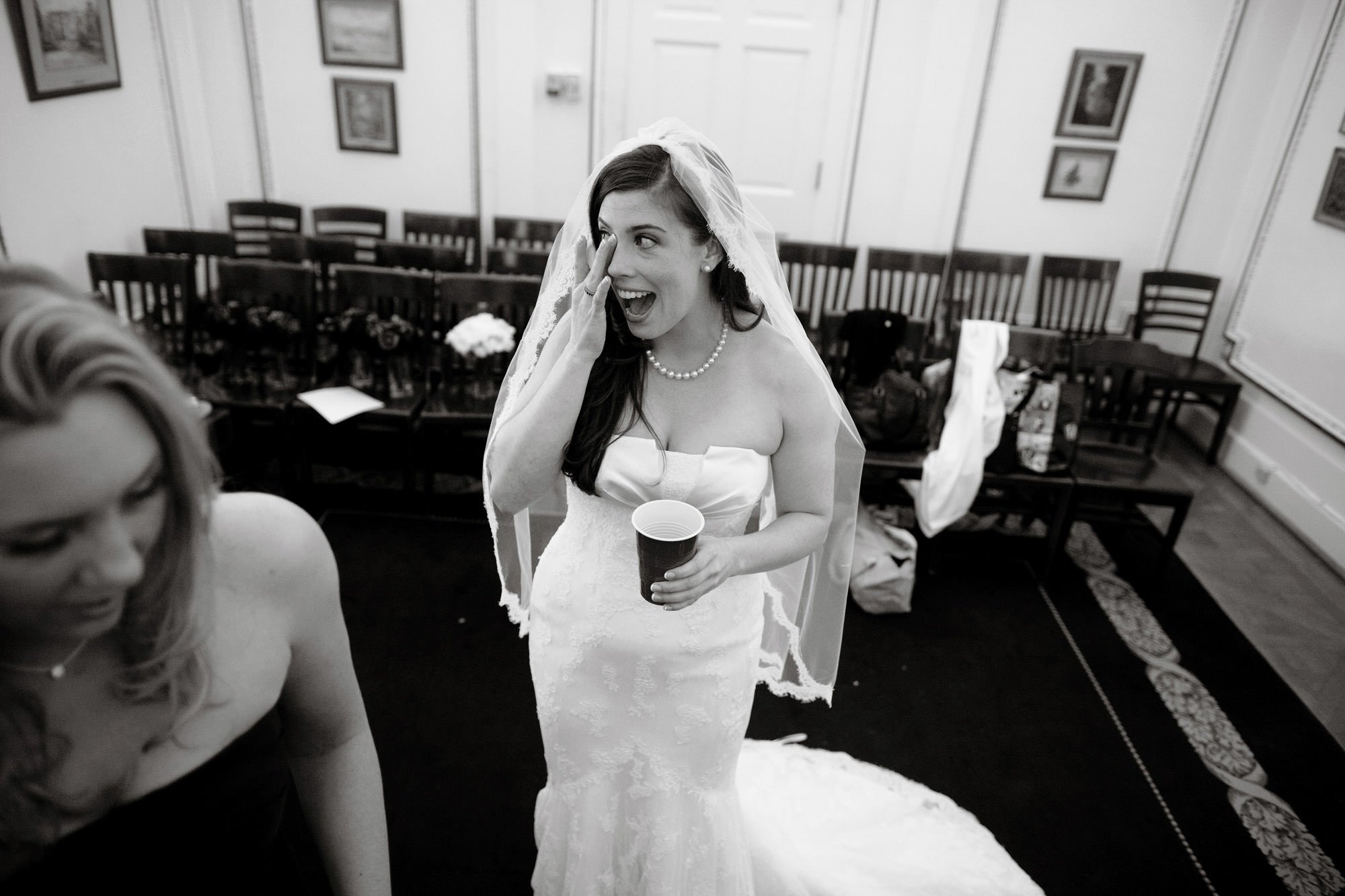 The bride tears up on her DAR Memorial Continental Hall Wedding day.