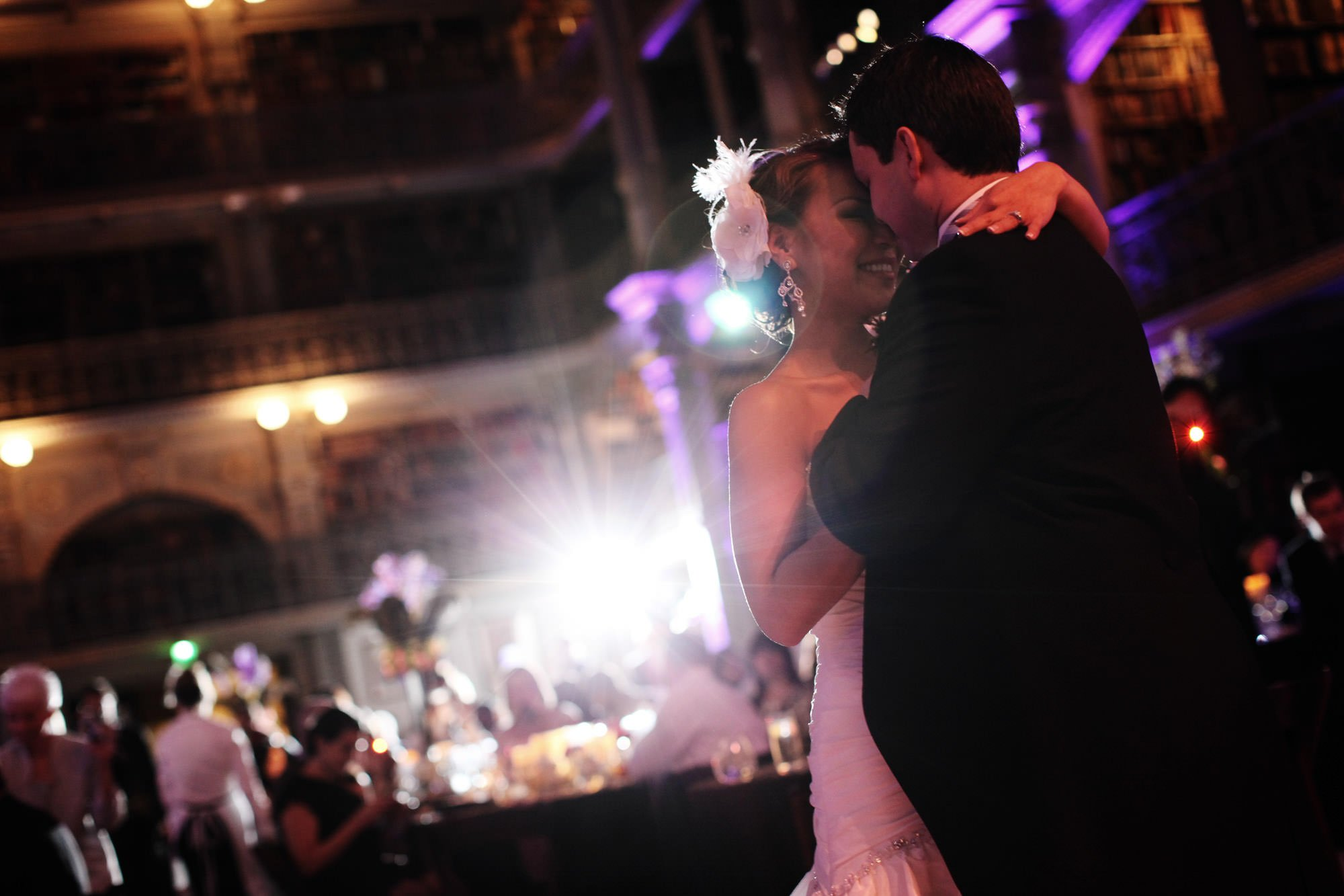 The couple shares their first dance during their George Peabody Library Wedding reception.