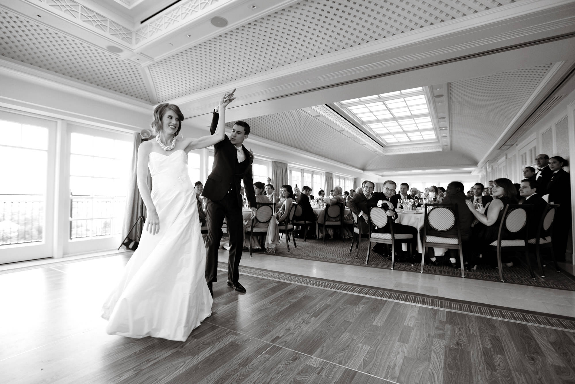 The bride and groom share their first dance during their wedding reception at the Hay Adams hotel in DC.