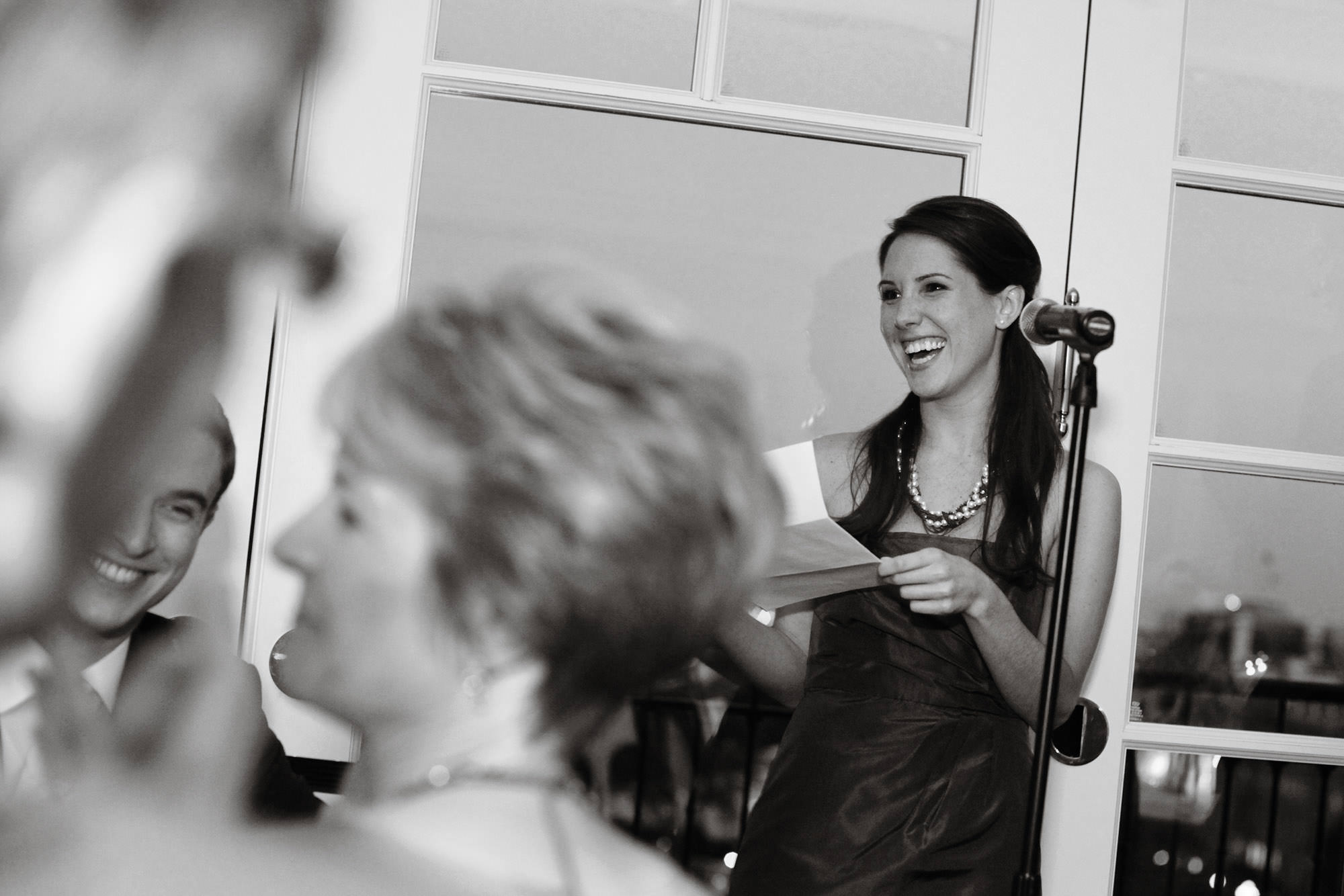 A bridesmaid toasts during the Hay Adams wedding reception.