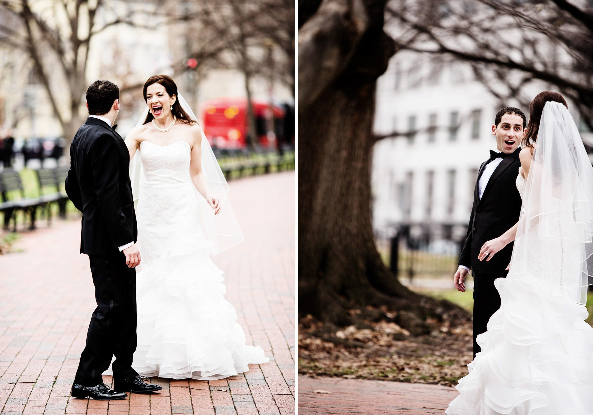 The bride and groom share their first look in Lafayette Park in Washington, DC.