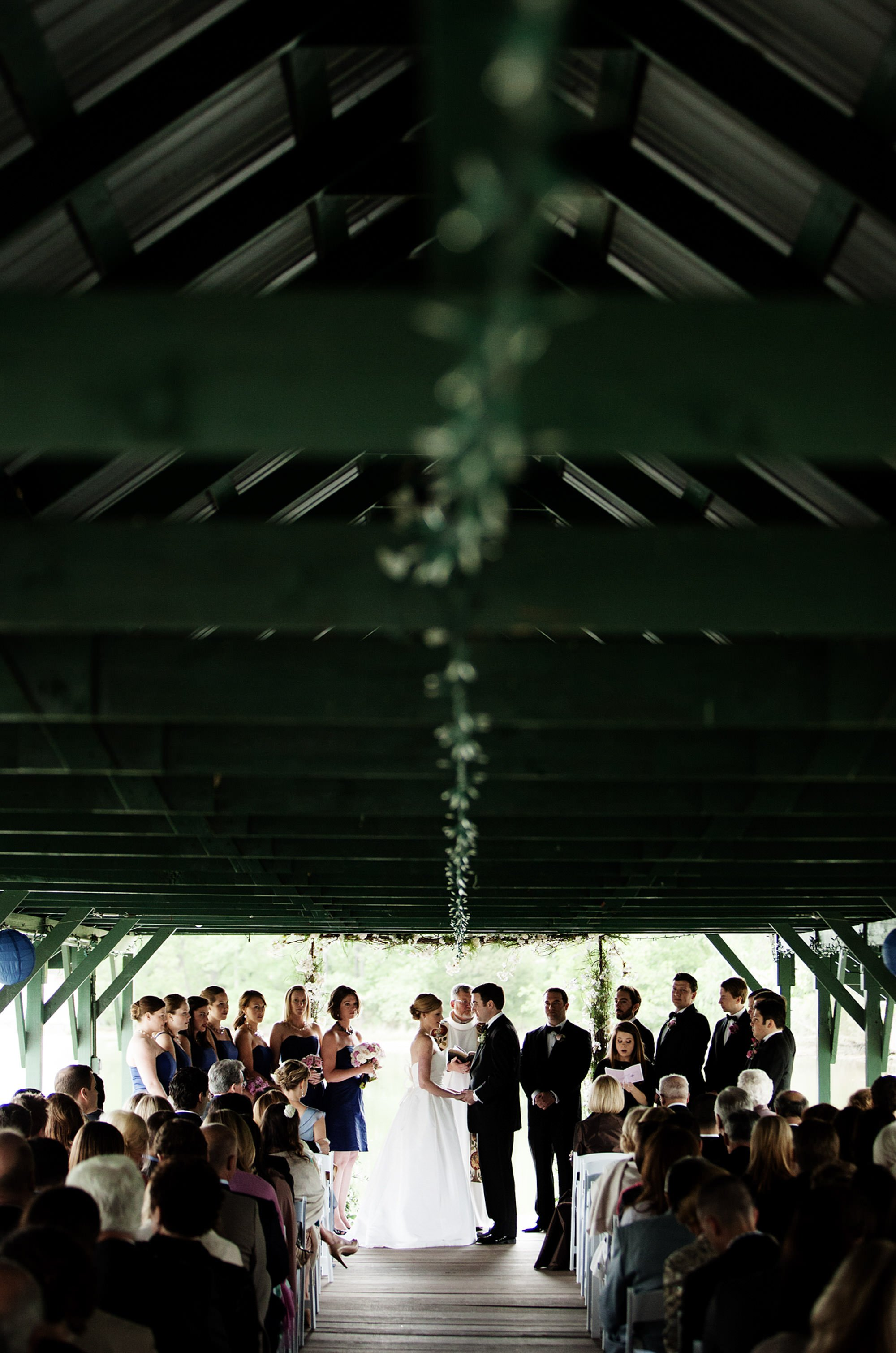 The wedding ceremony at Oaks Waterfront Inn and Events.