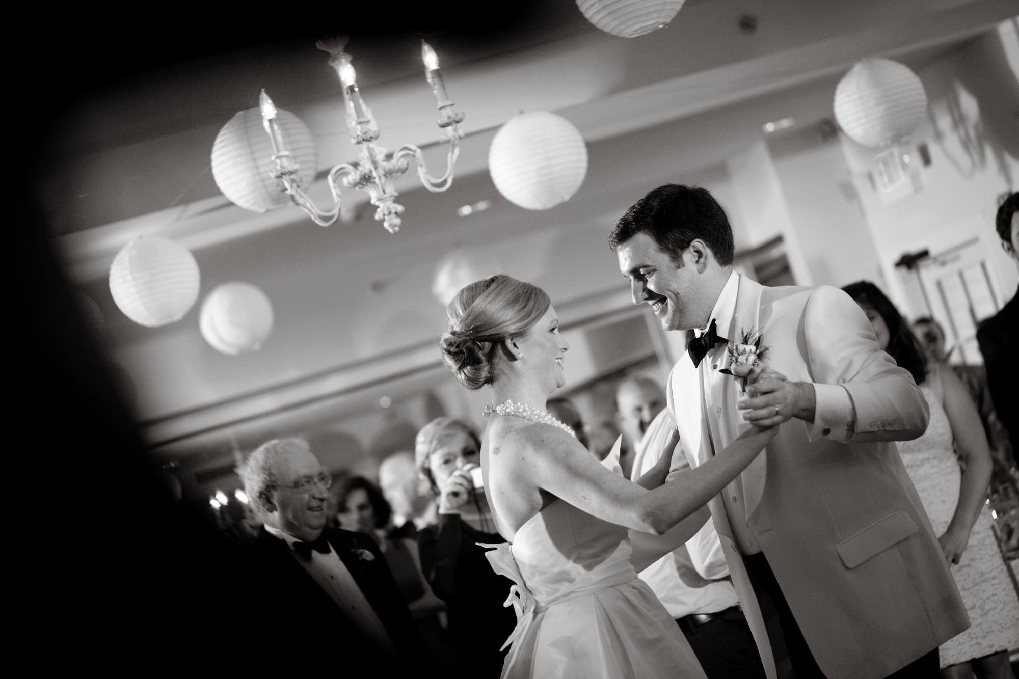 The bride and groom share their first dance during the Oaks Waterfront Inn and Events Wedding reception.