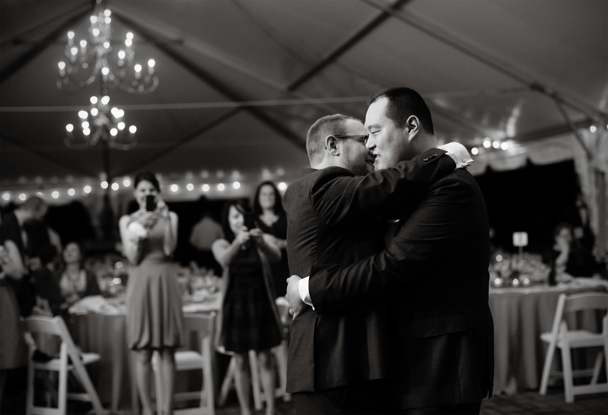 The couple dances for the first time during the wedding reception at Oxon Hill Manor.