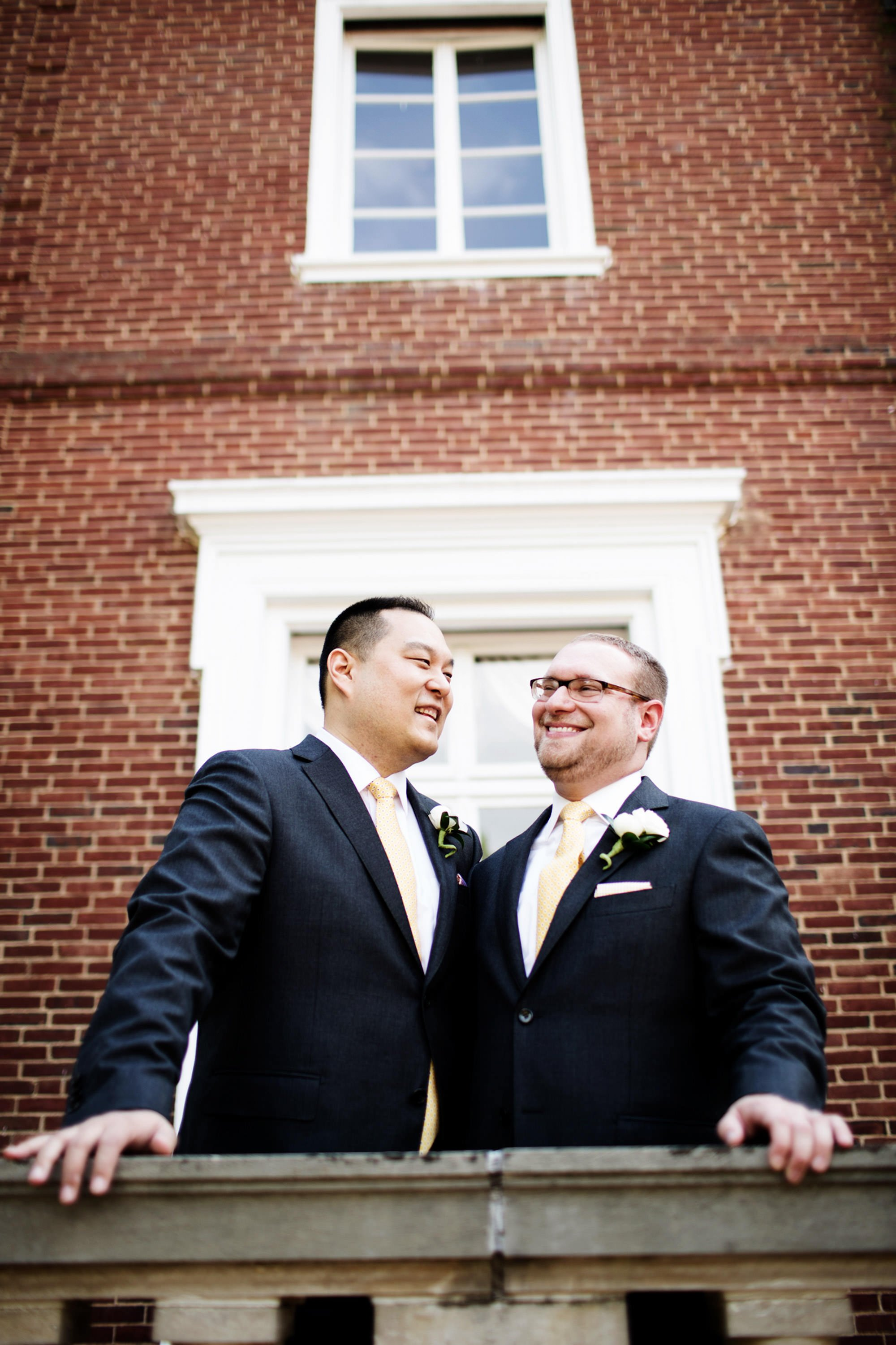 The grooms smile prior to their wedding ceremony at Oxon Hill Manor.