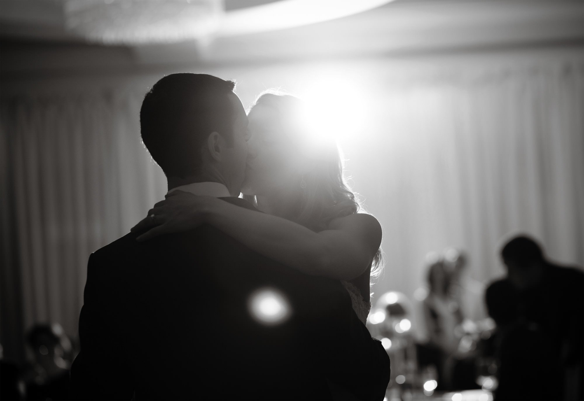 The bride and groom enjoy their first dance during the Park Hyatt Washington DC wedding reception.
