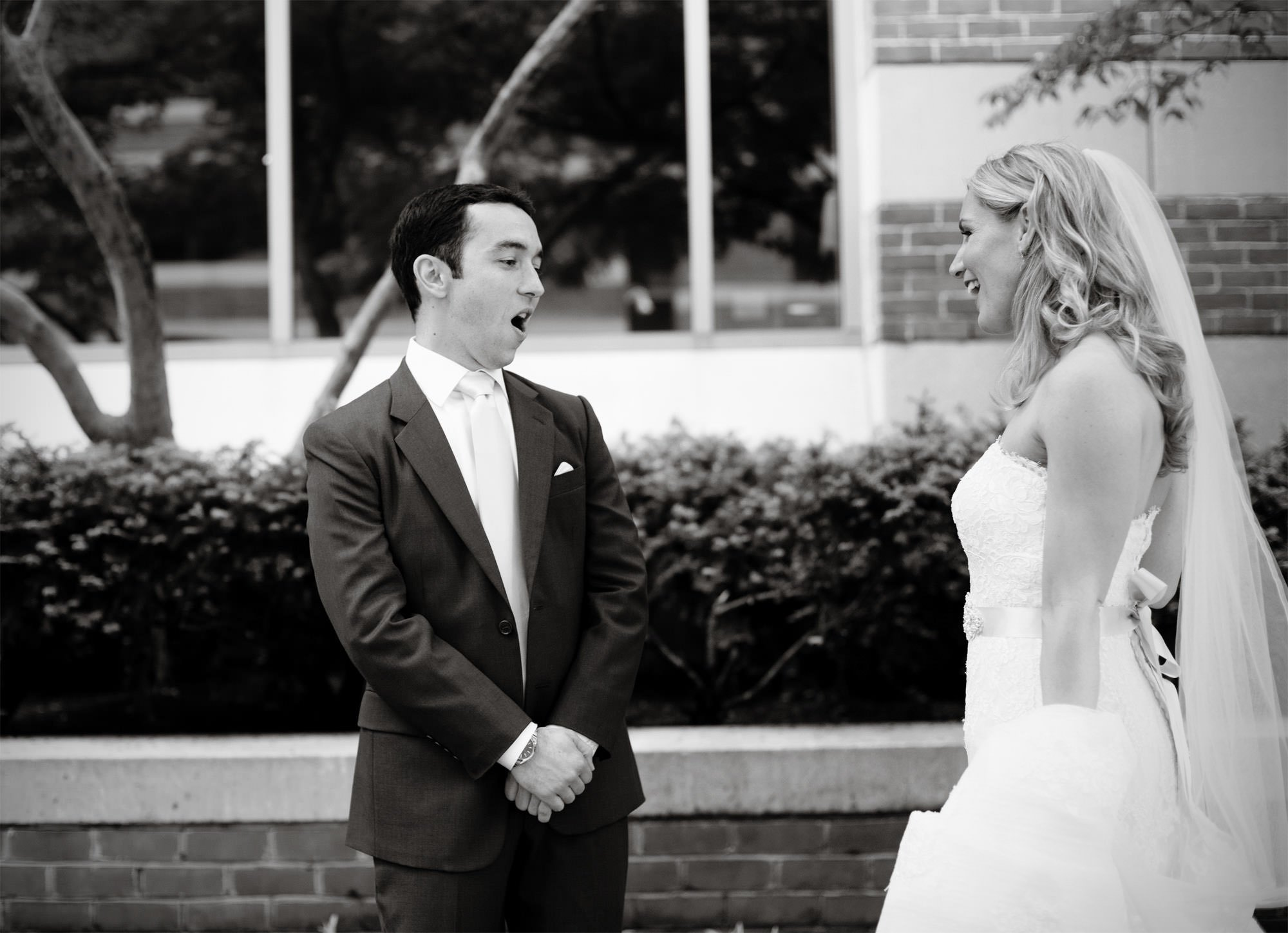 The bride and groom share their first look on their Park Hyatt Washington DC Wedding day.