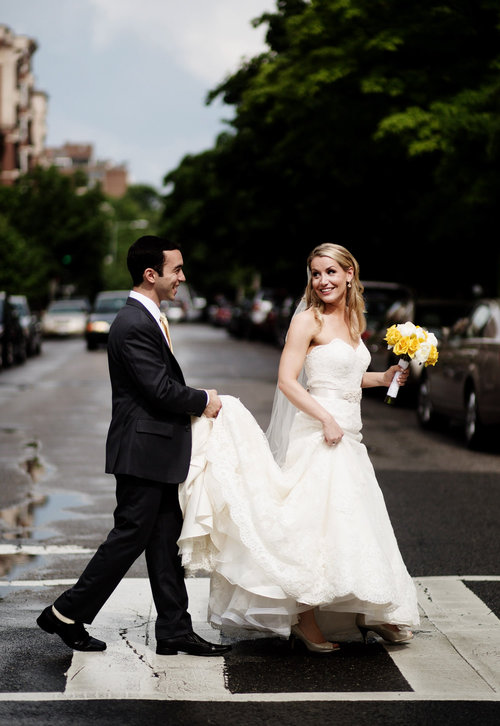 The couple crosses the street in Washington, DC before their Park Hyatt Washington DC Wedding.