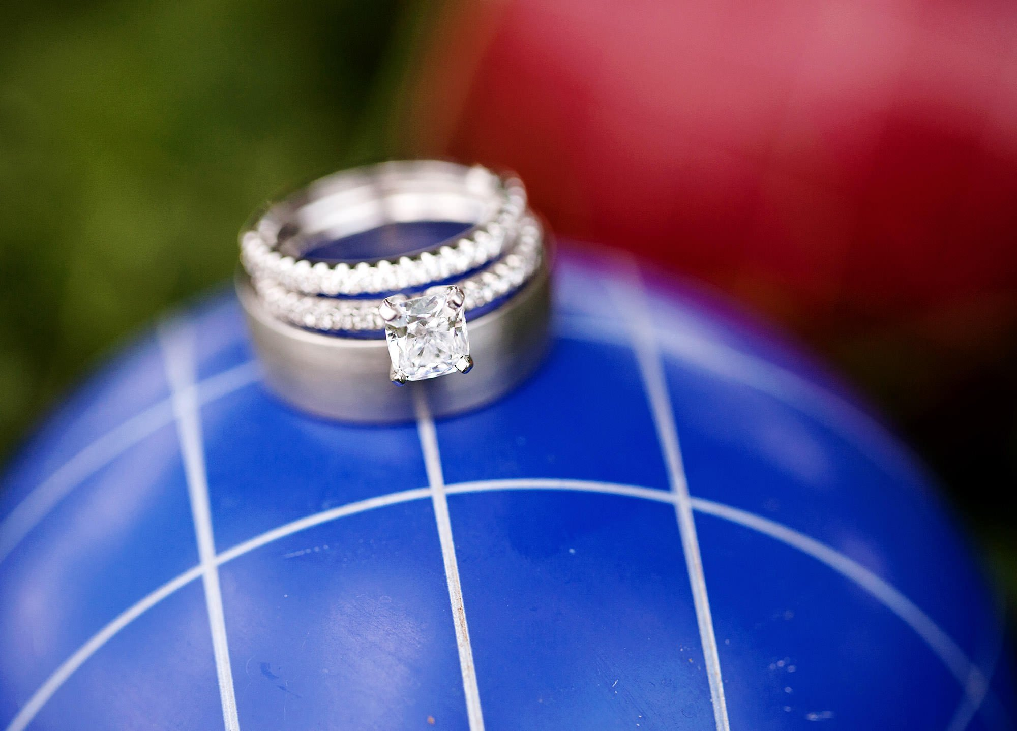 A wedding ring detail with Bocce Balls.