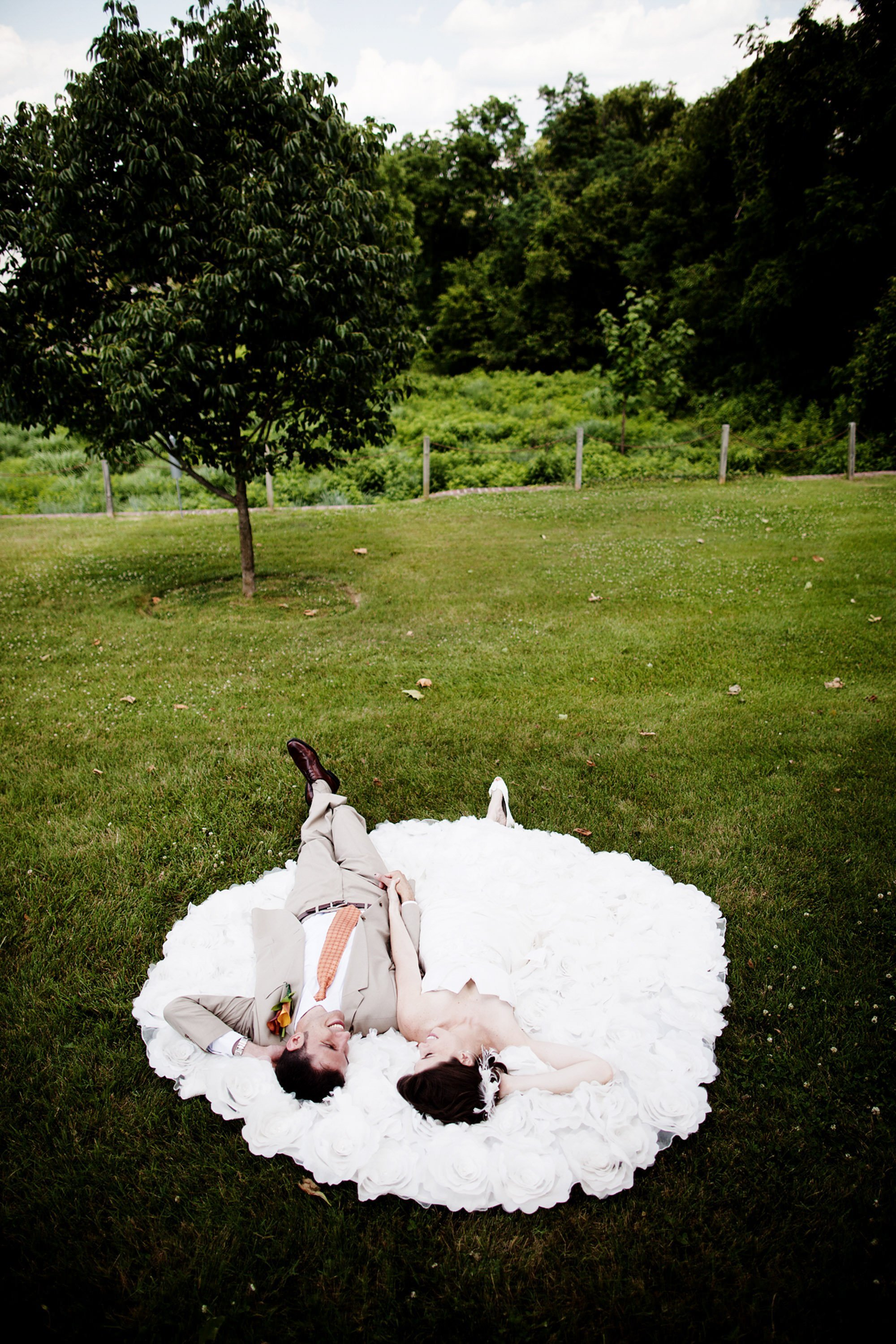 The bride and groom relax together on their River Farm Alexandria Wedding day.