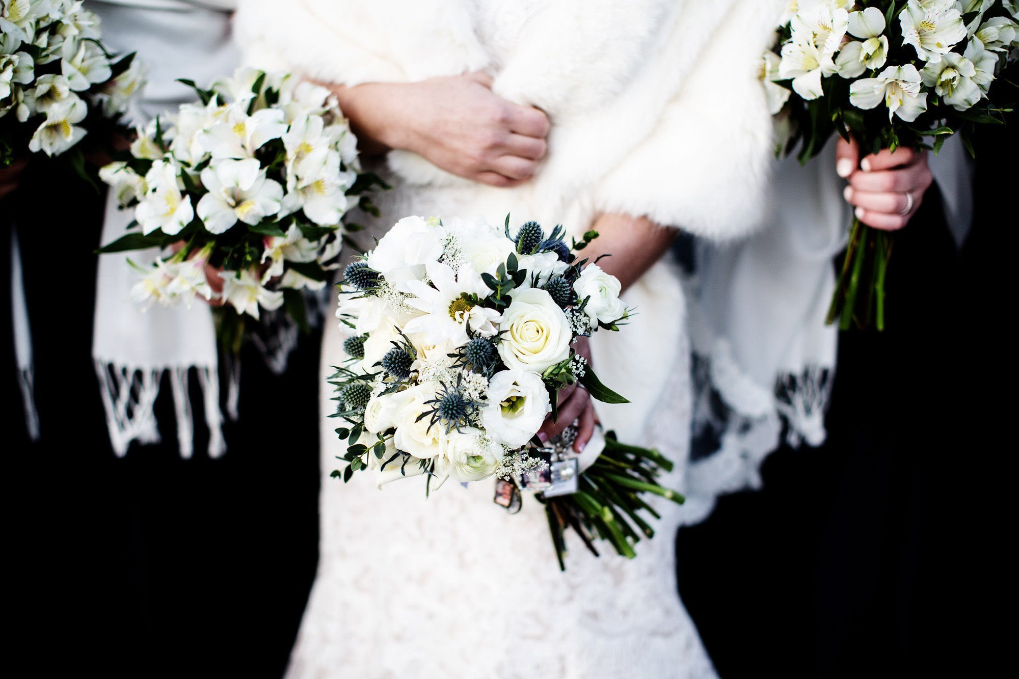 A detail of the bride's flowers.