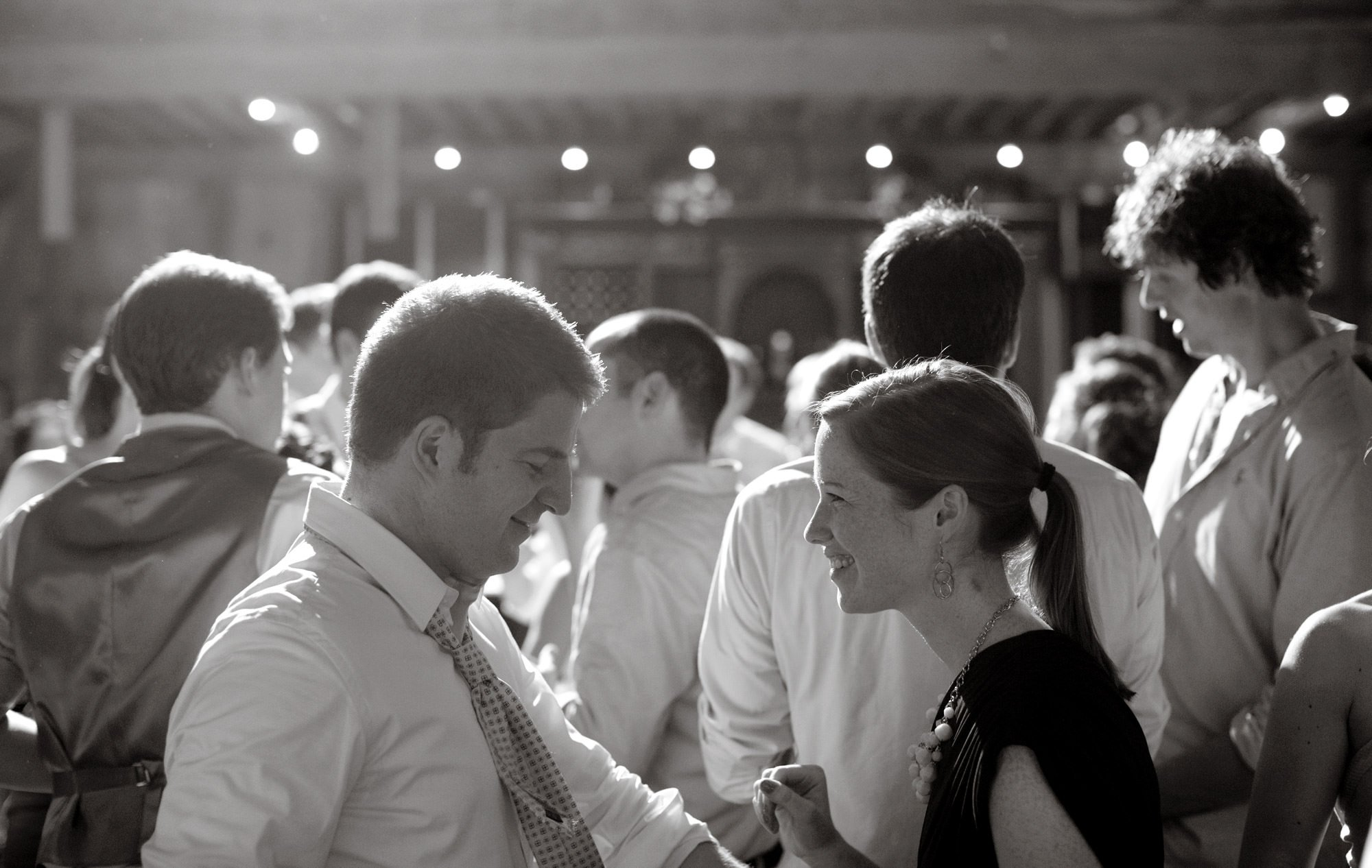 Guests dance during the reception of this Sunset Hills Vineyard wedding.