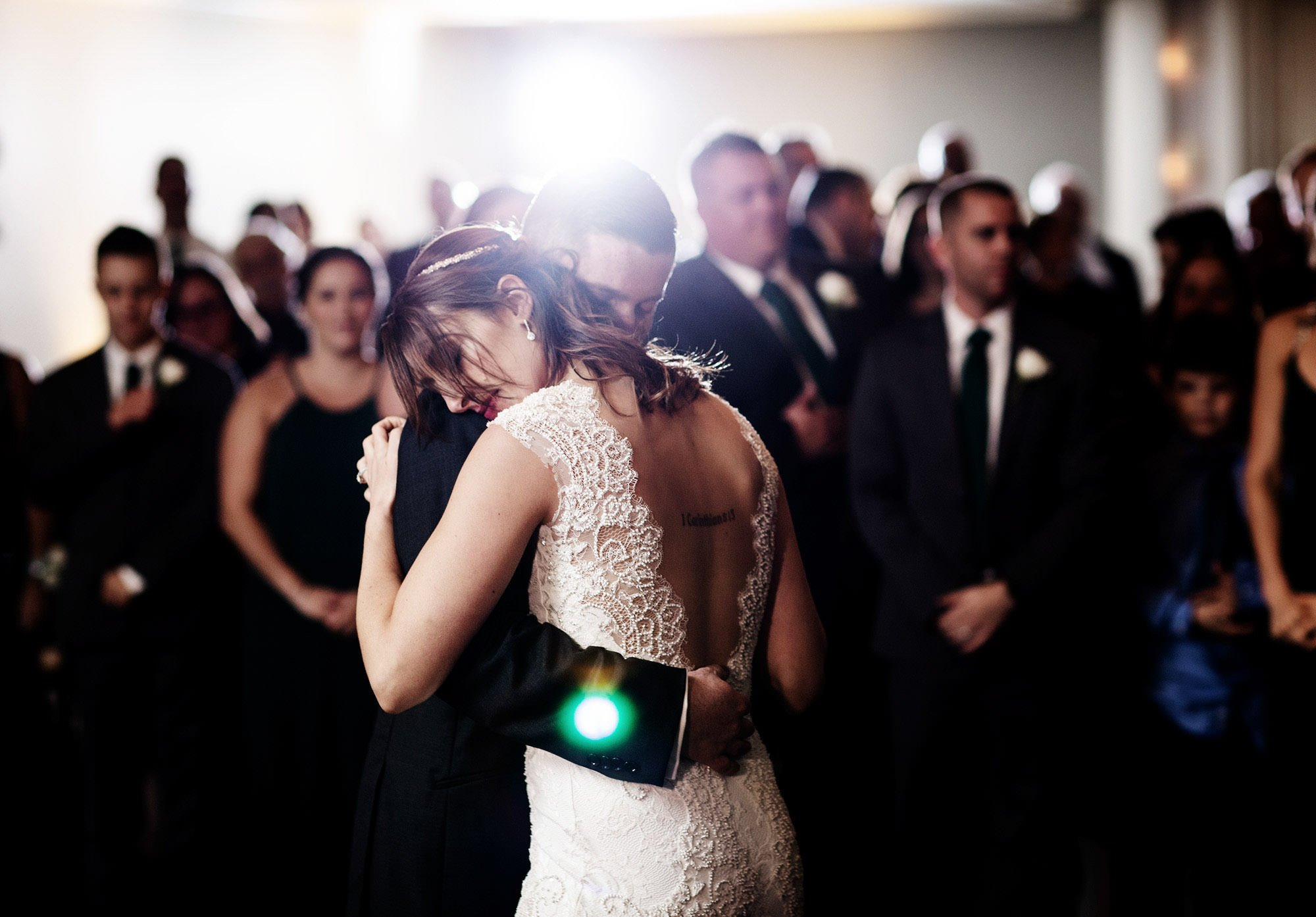 The couple shares their first dance during The Villa at Ridder Country Club Wedding reception in East Bridgewater, MA.