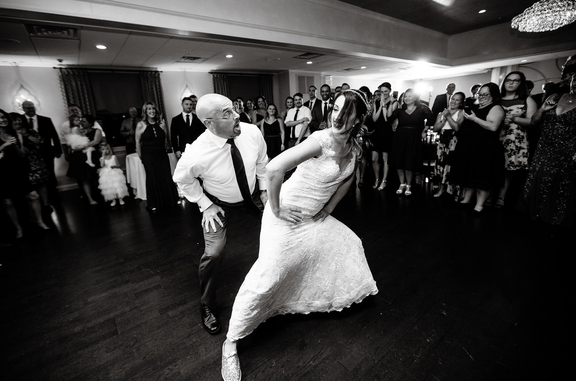The father of the bride dances with her daughter during The Villa at Ridder Country Club wedding reception.