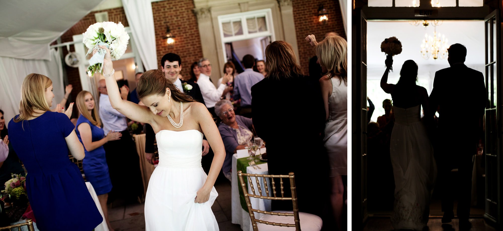 The bride and groom are introduced to the wedding reception at Woodend Sanctuary & Mansion.