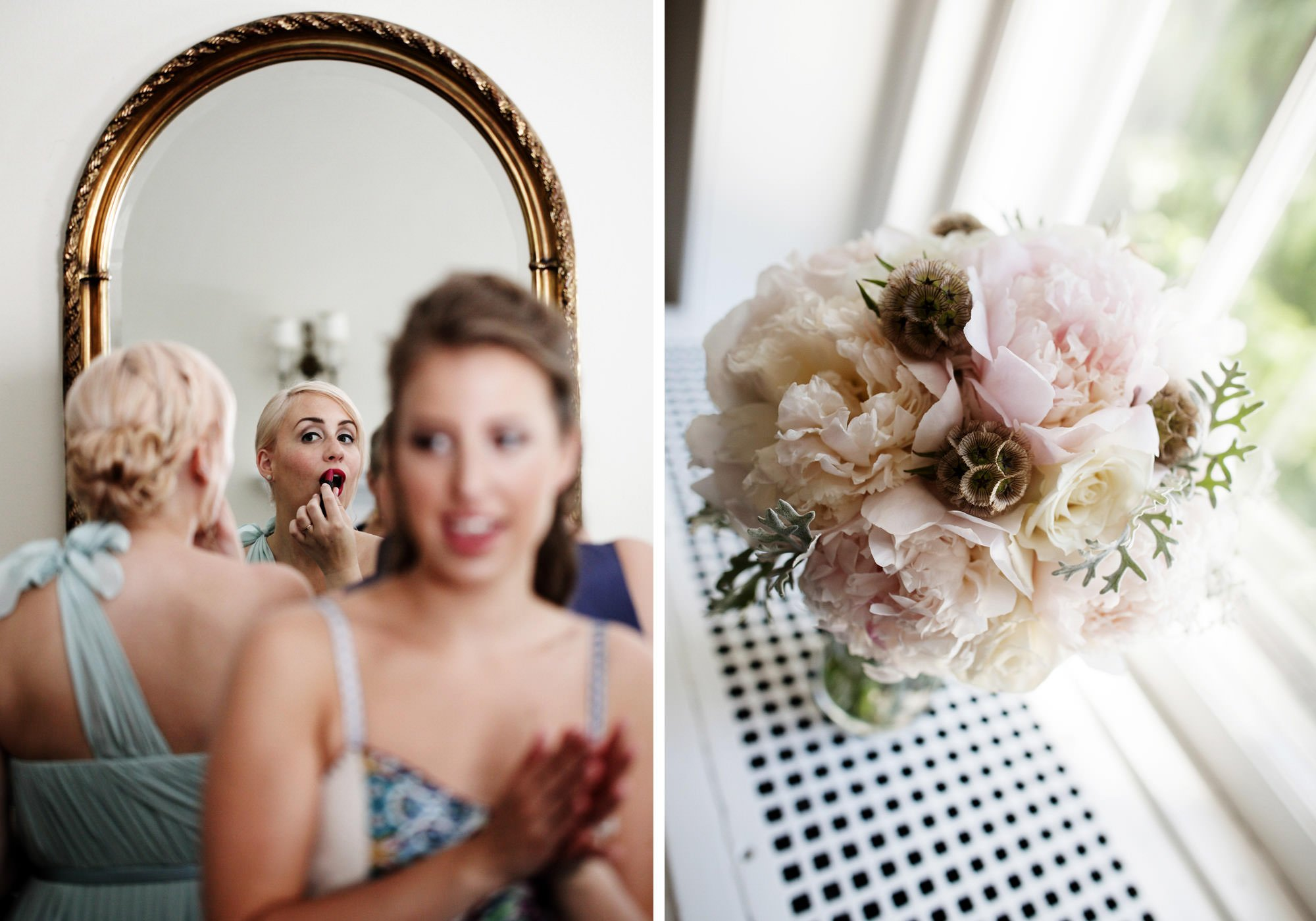 The bridesmaids get ready for the wedding at Woodend Sanctuary & Mansion.