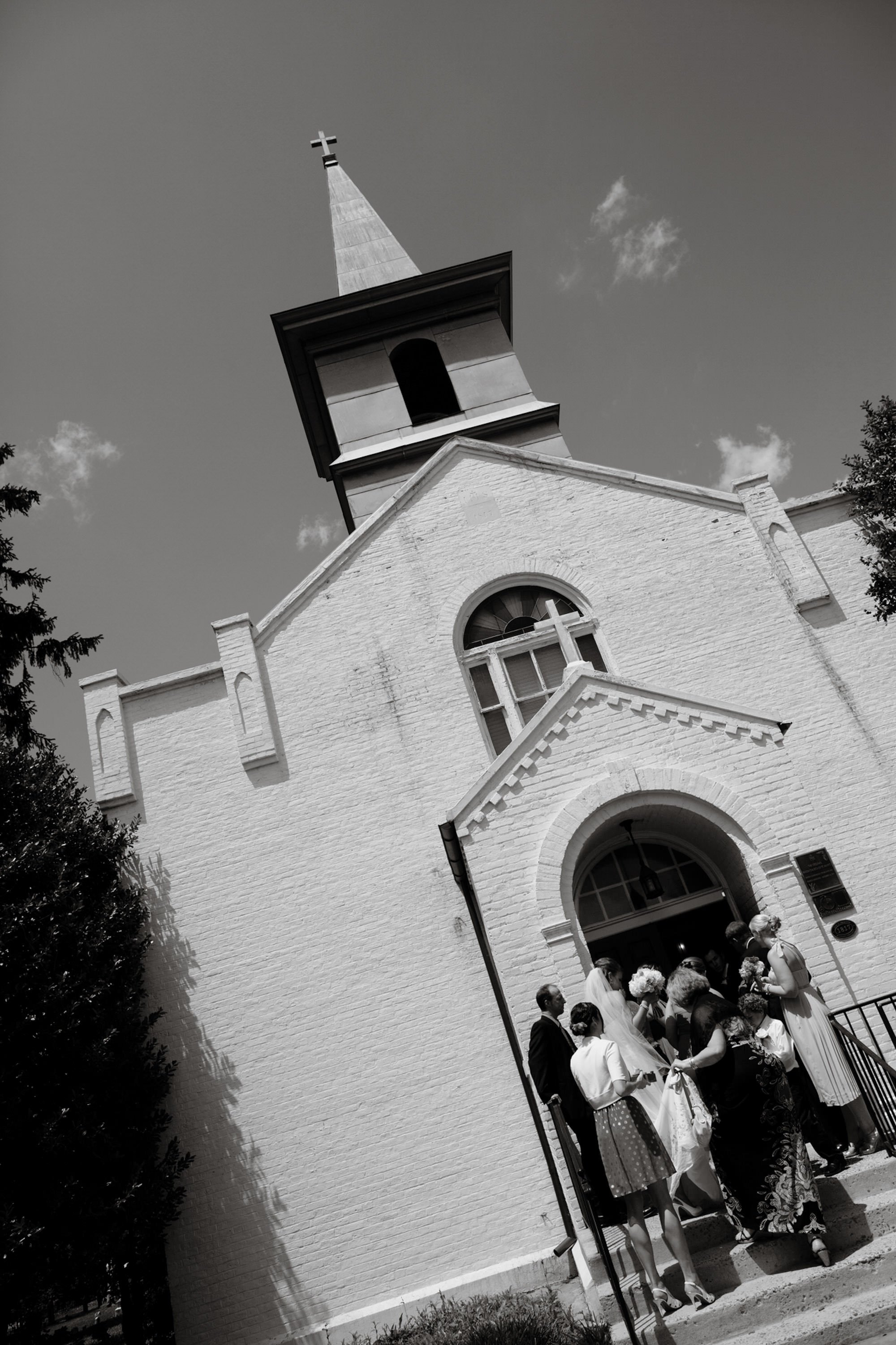 Guests arrive at St. Mary's Catholic Church in Rockville, MD.