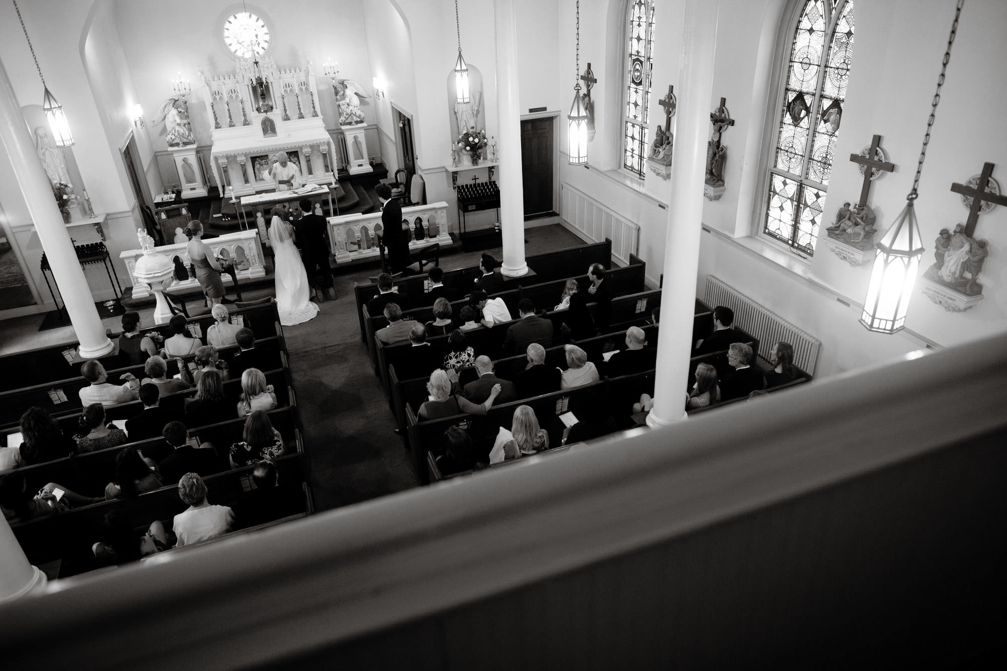 The wedding ceremony from the balcony of St. Mary's Catholic Church in Rockville, MD.