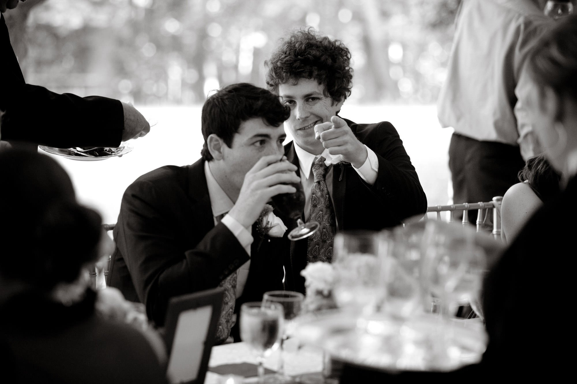 Guests goof off during this Woodend Sanctuary & Mansion wedding.