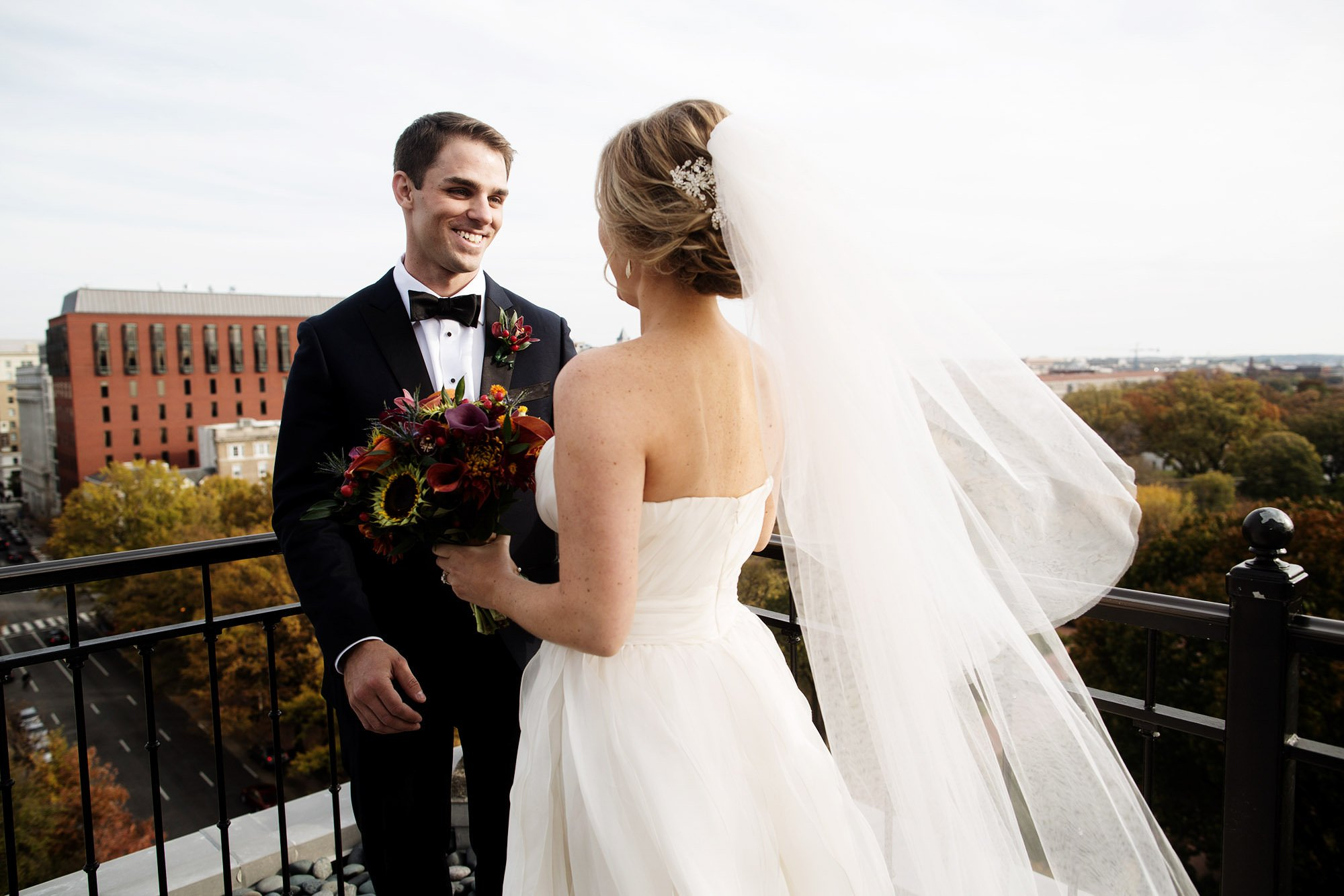 The bride and groom share their first look prior to the Hay Adams DC Wedding ceremony.