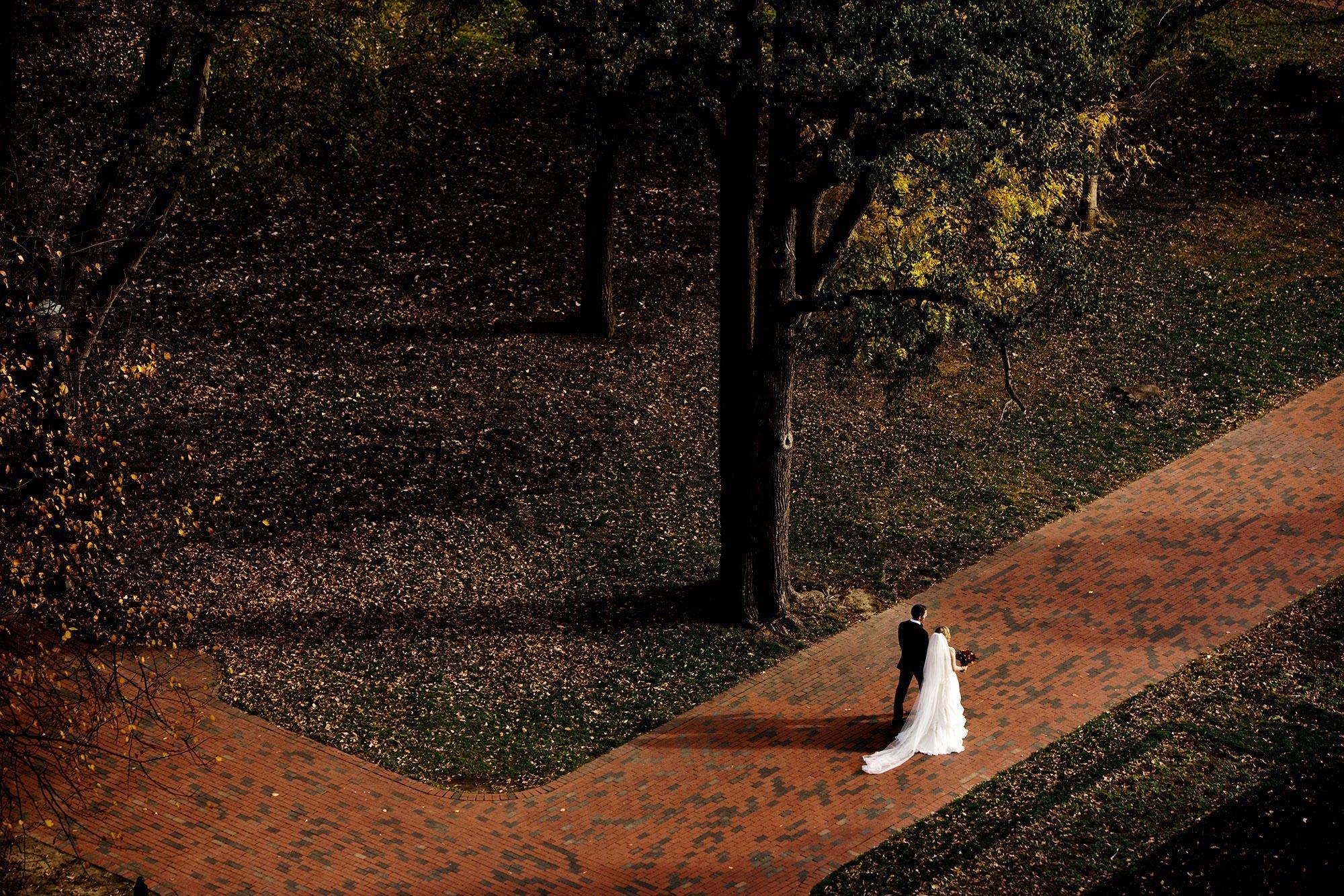 Hay Adams DC Wedding  I  The bride and groom walk through Lafayette Park before the wedding ceremony.