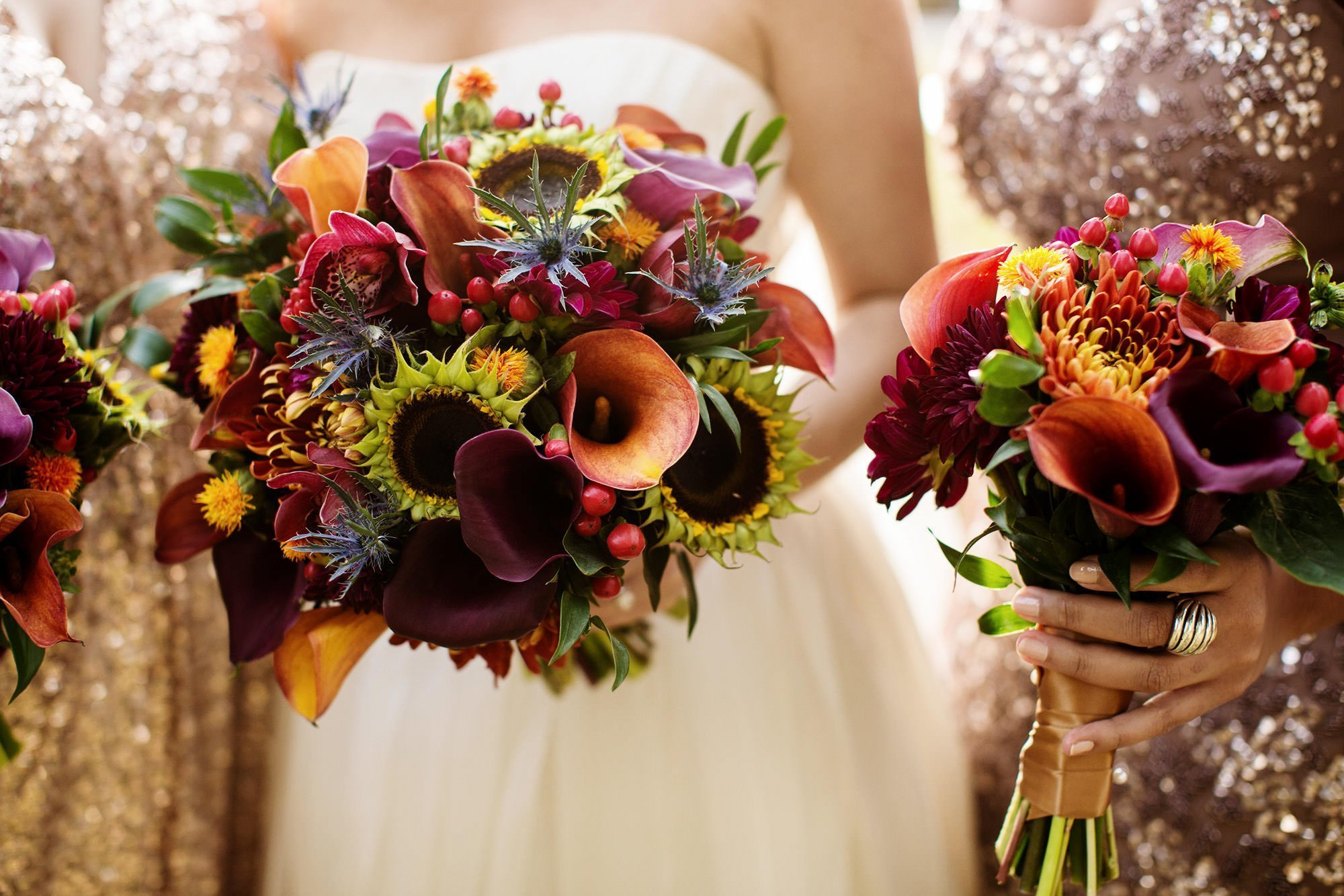 A detail of the bridal party bouquets.