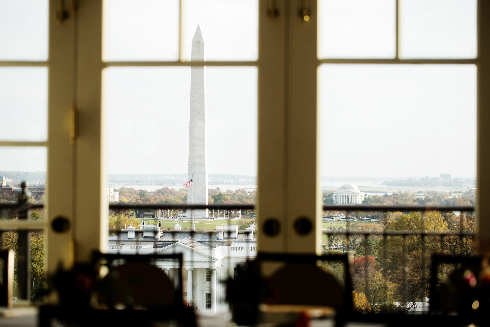 The view of the Washington Monument from the Hay Adams Hotel.