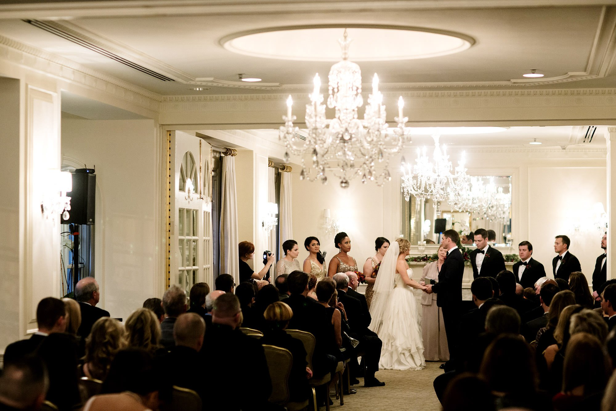 The wedding party stands during the Hay Adams DC Wedding ceremony.