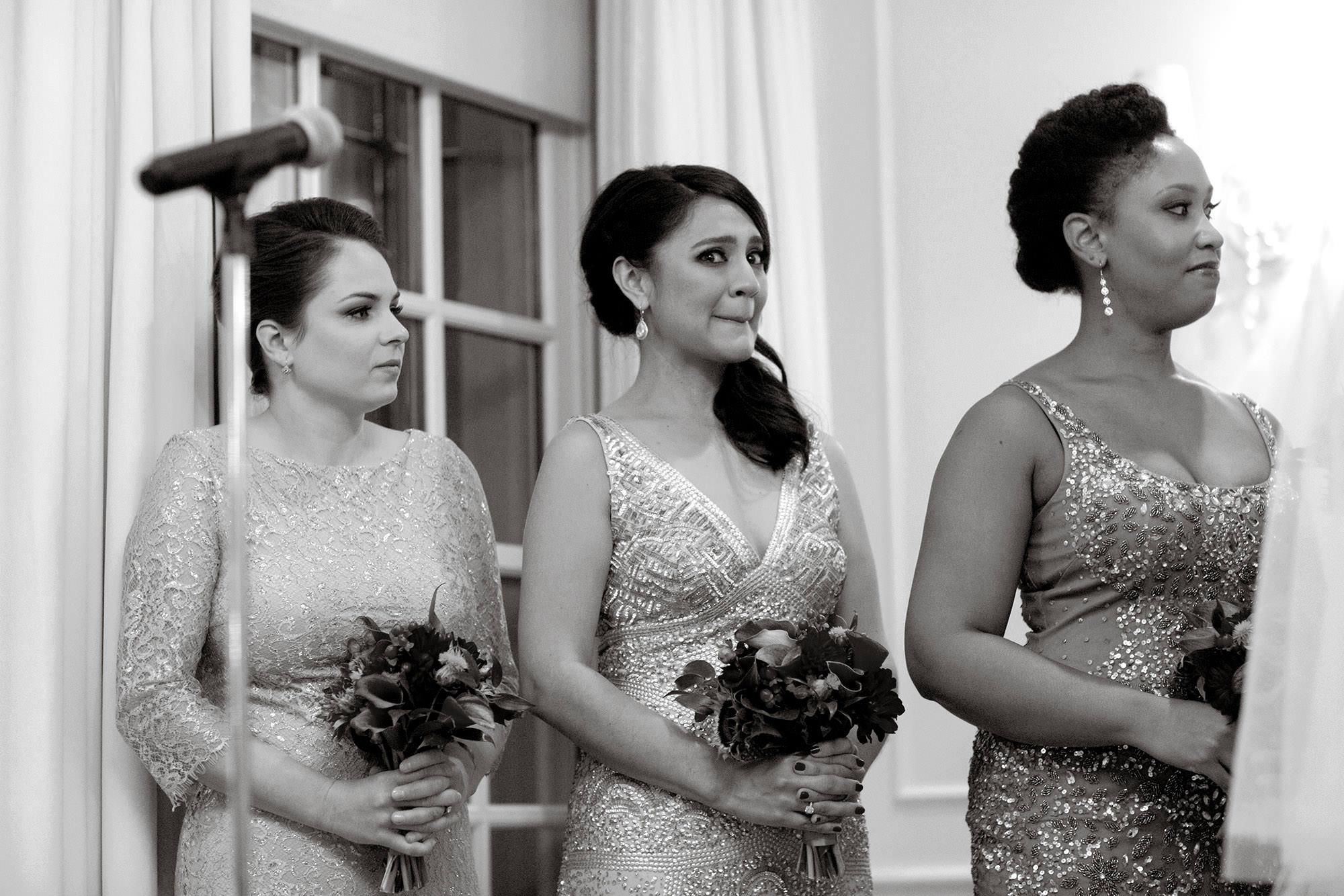 A bridesmaid gets emotional during the Hay Adams DC Wedding ceremony.
