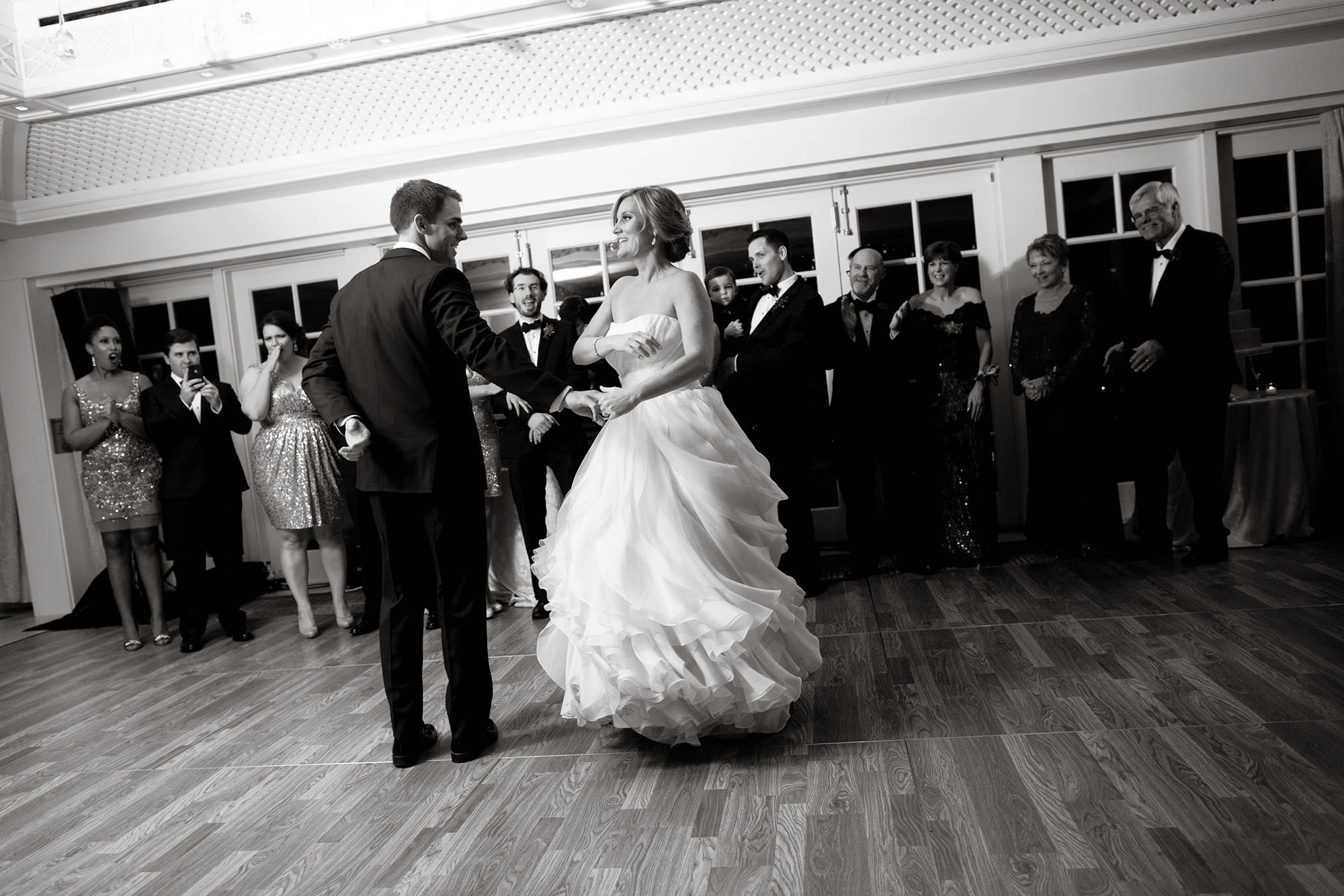 The bride and groom enjoy their first dance during the Hay Adams DC Wedding reception.