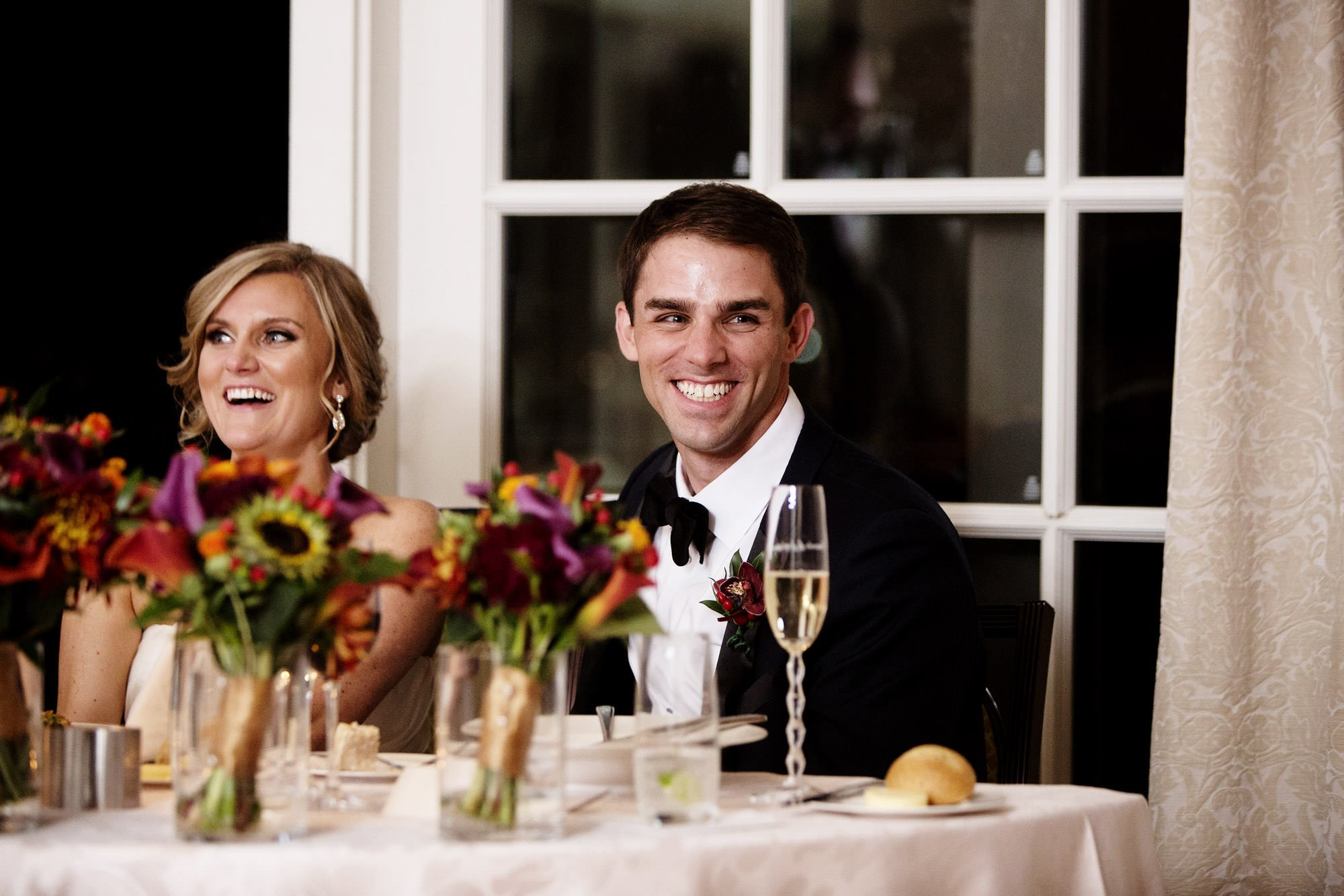 The couple laugh during the Hay Adams DC Wedding reception.