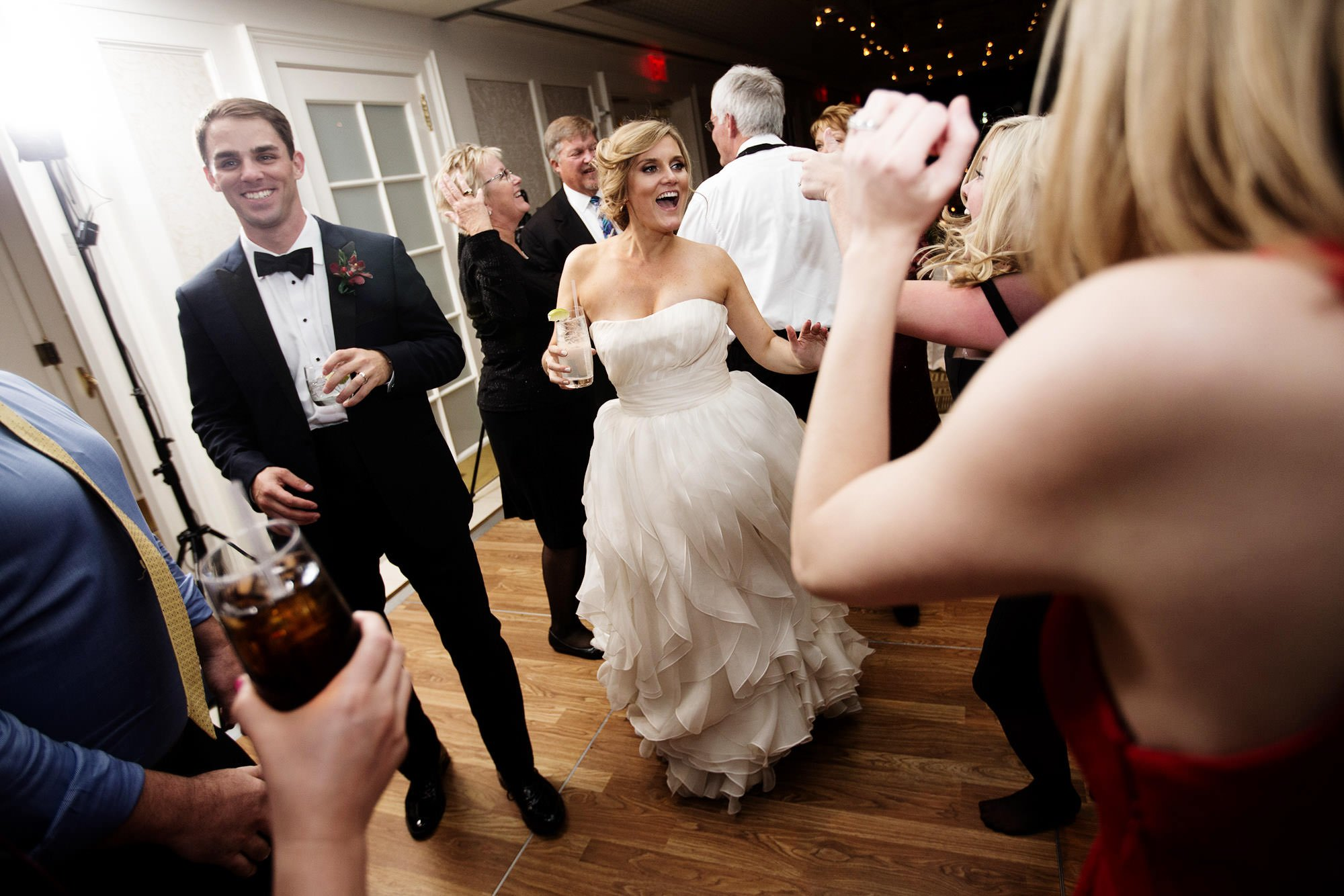 Guests dance during the wedding reception at the Hay Adams DC Hotel.