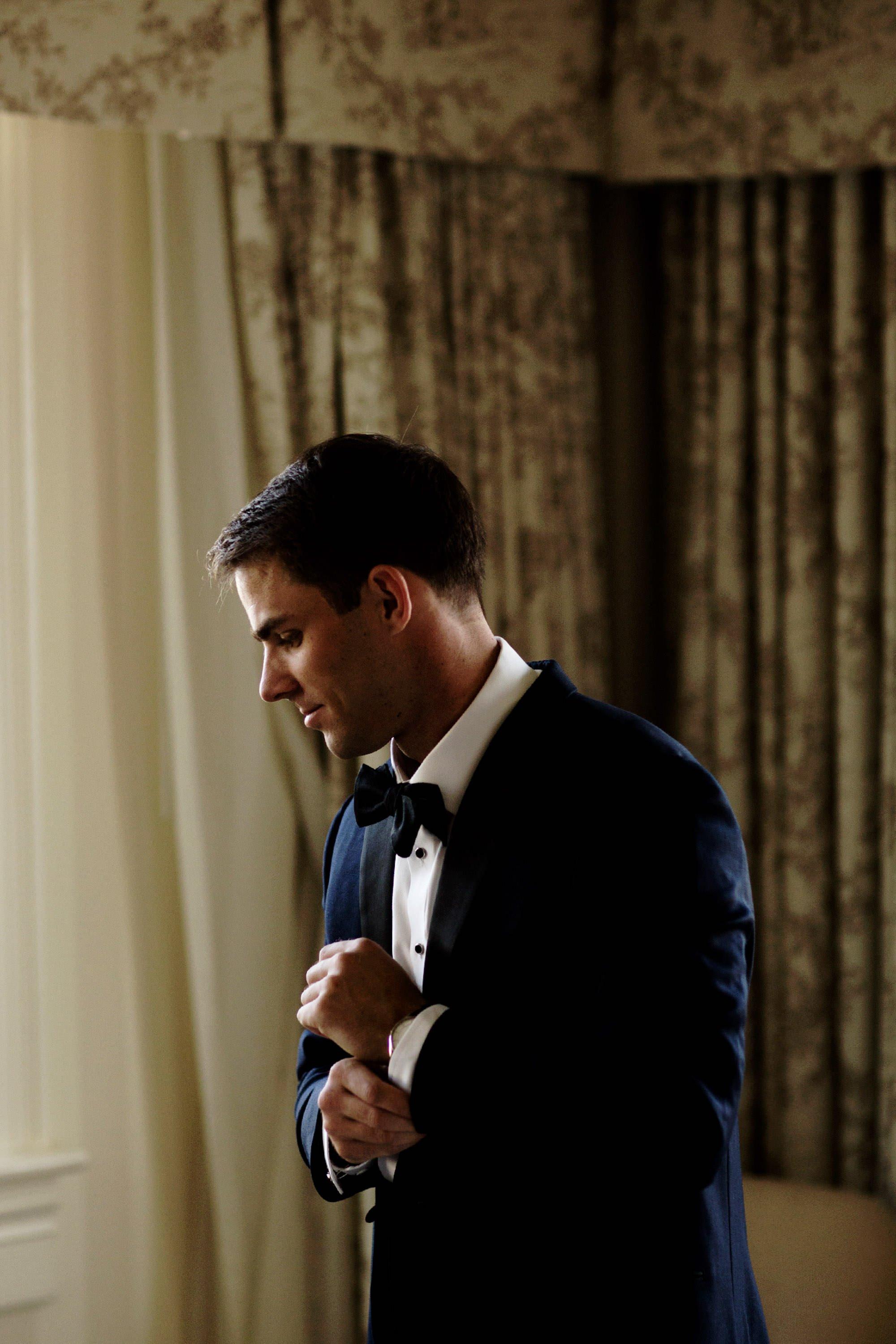 The groom prepares for the Hay Adams DC Wedding ceremony.