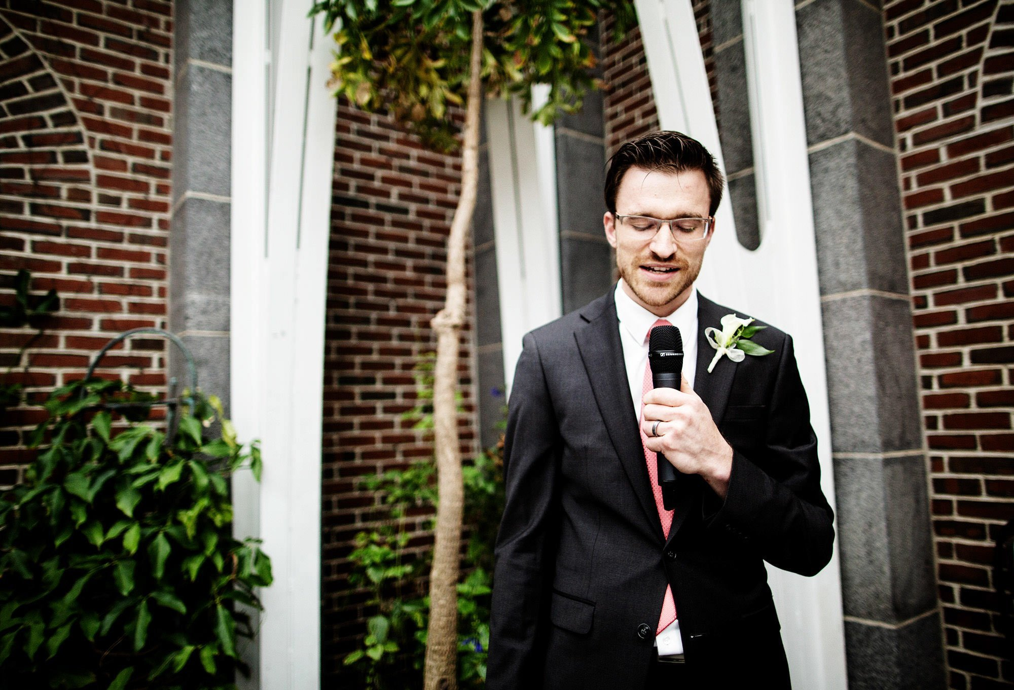The best man gives a toast during the Tower Hill Botanic Garden Wedding reception.
