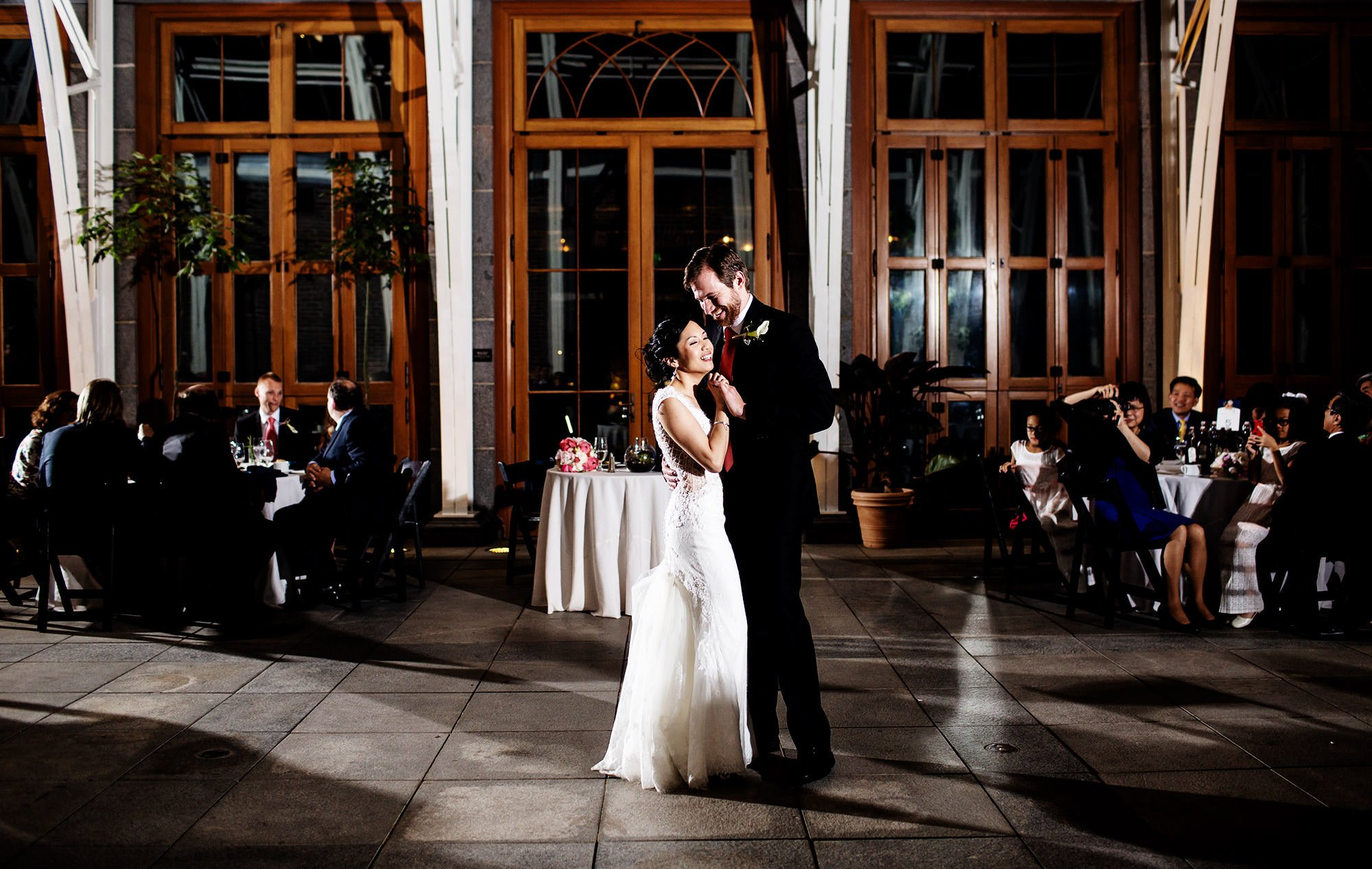 The bride and groom share their first dance during the Tower Hill Botanic Garden Wedding reception.