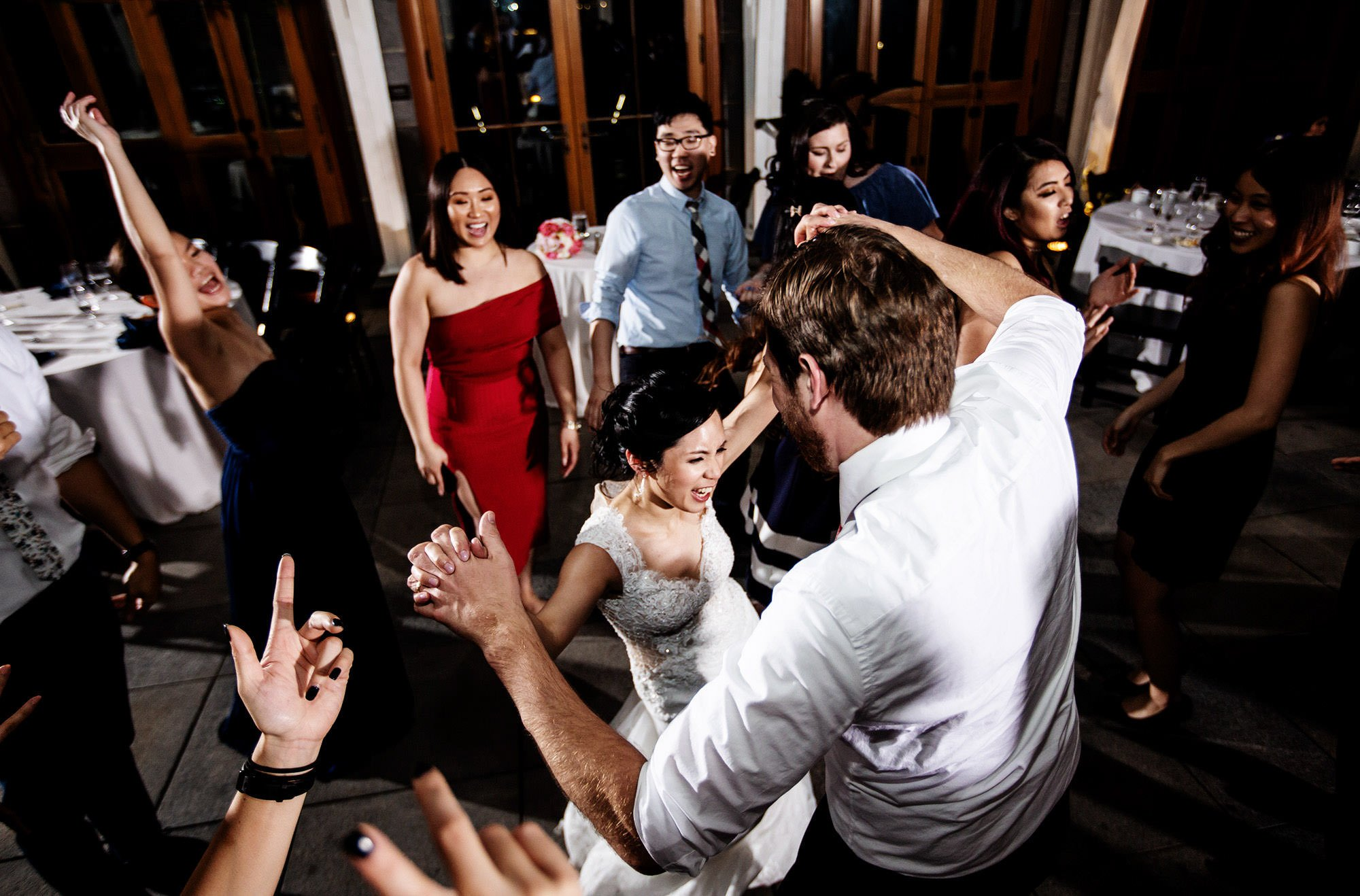 The bride dances with her guests during the Tower Hill Botanic Garden Wedding reception.