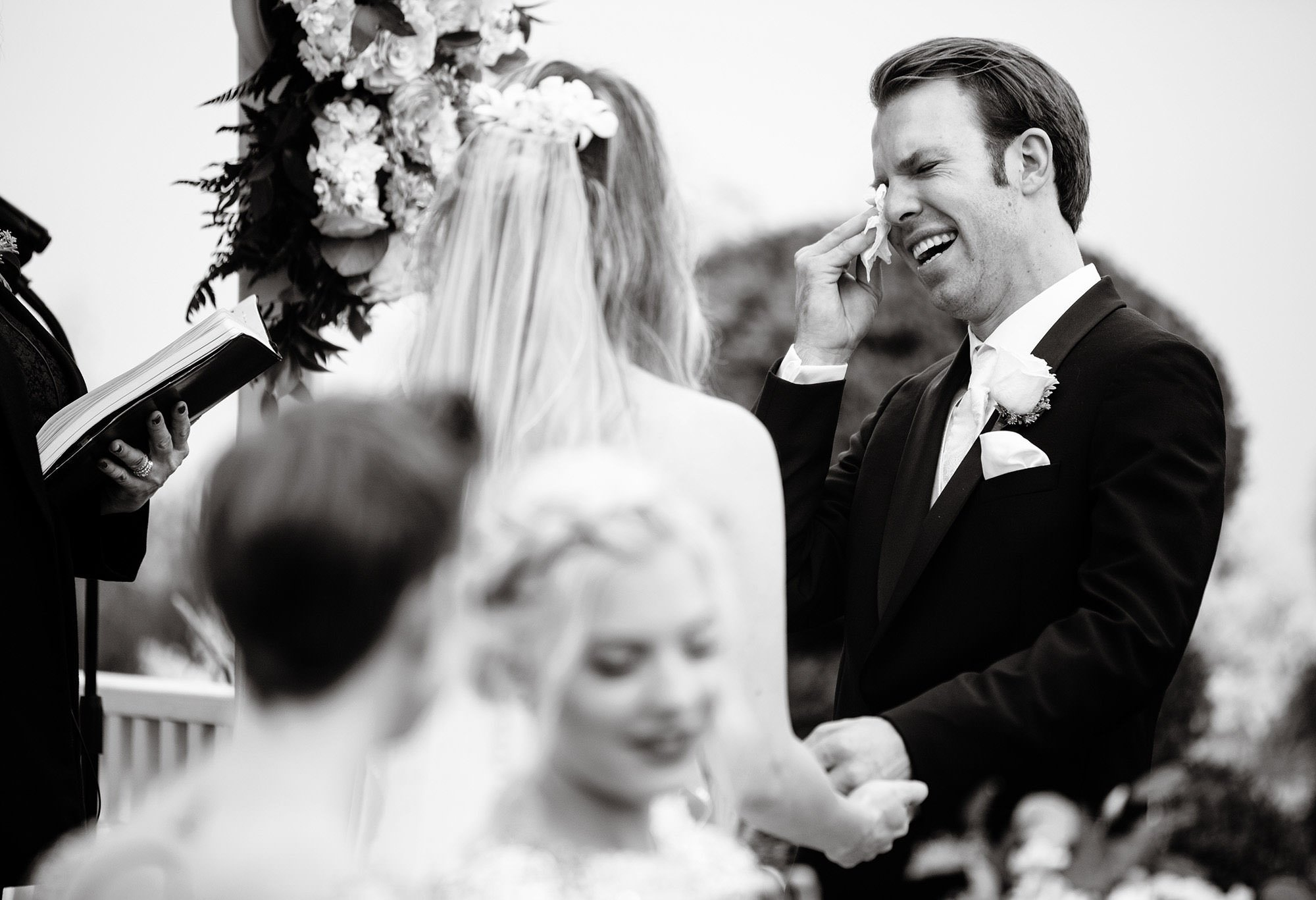 The groom sheds a tear during the White Cliffs Country Club Wedding ceremony.