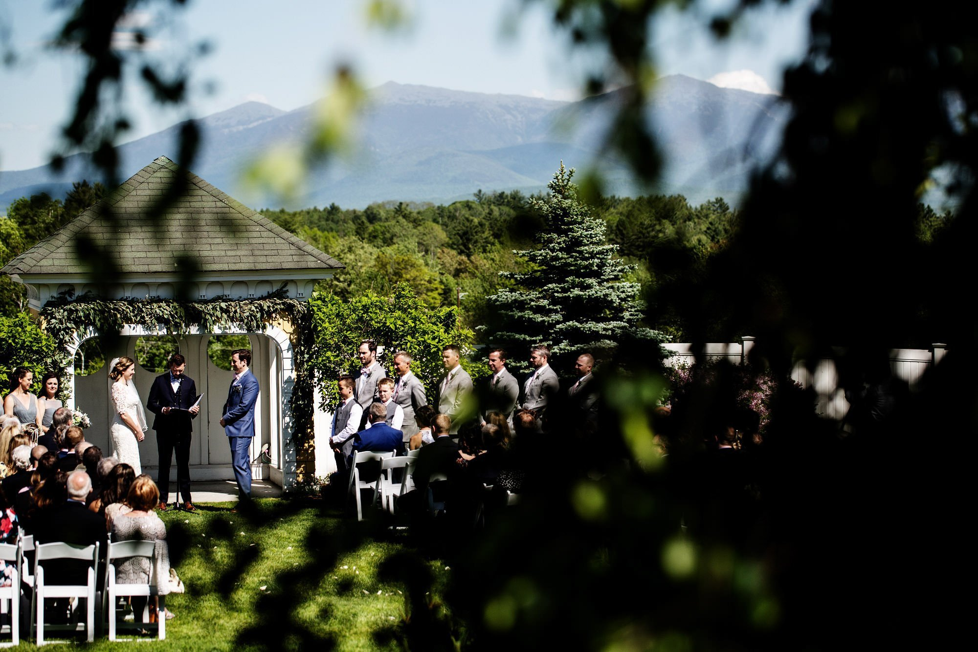 Mountain View Grand Wedding  I  The wedding ceremony by the White Mountains.