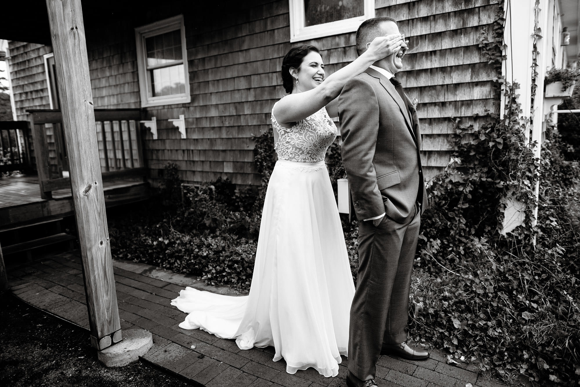 Cape Cod Wedding Photographers I Pelham House Resort Wedding bride and groom first look