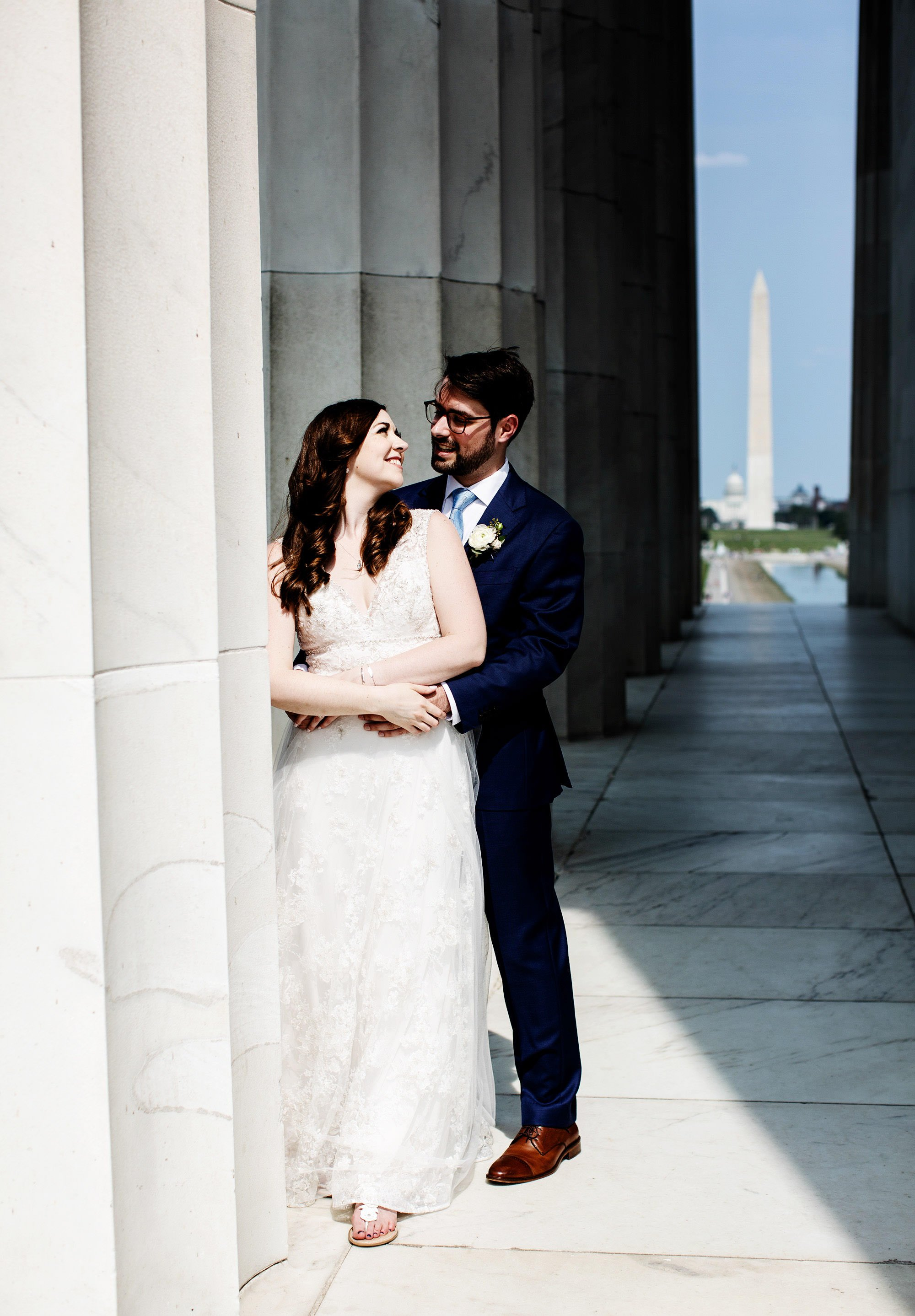 Washington DC Wedding  I  The bride and groom pose for a portrait at the Lincoln Memorial in Washington, DC before their American Institute of Architects Wedding.
