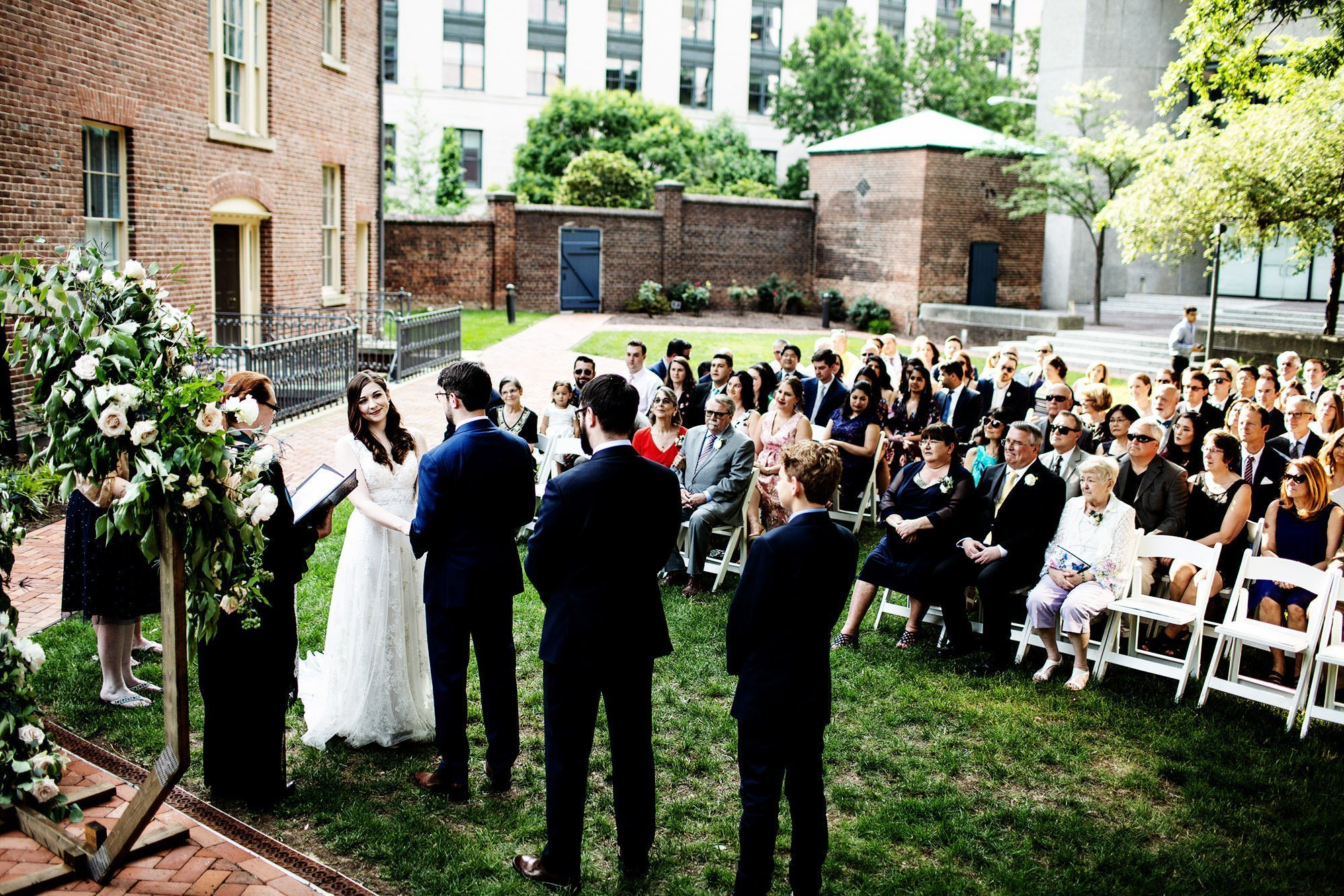 American Institute of Architects Wedding Ceremony  I  Guests watch the wedding ceremony in Washington, DC.