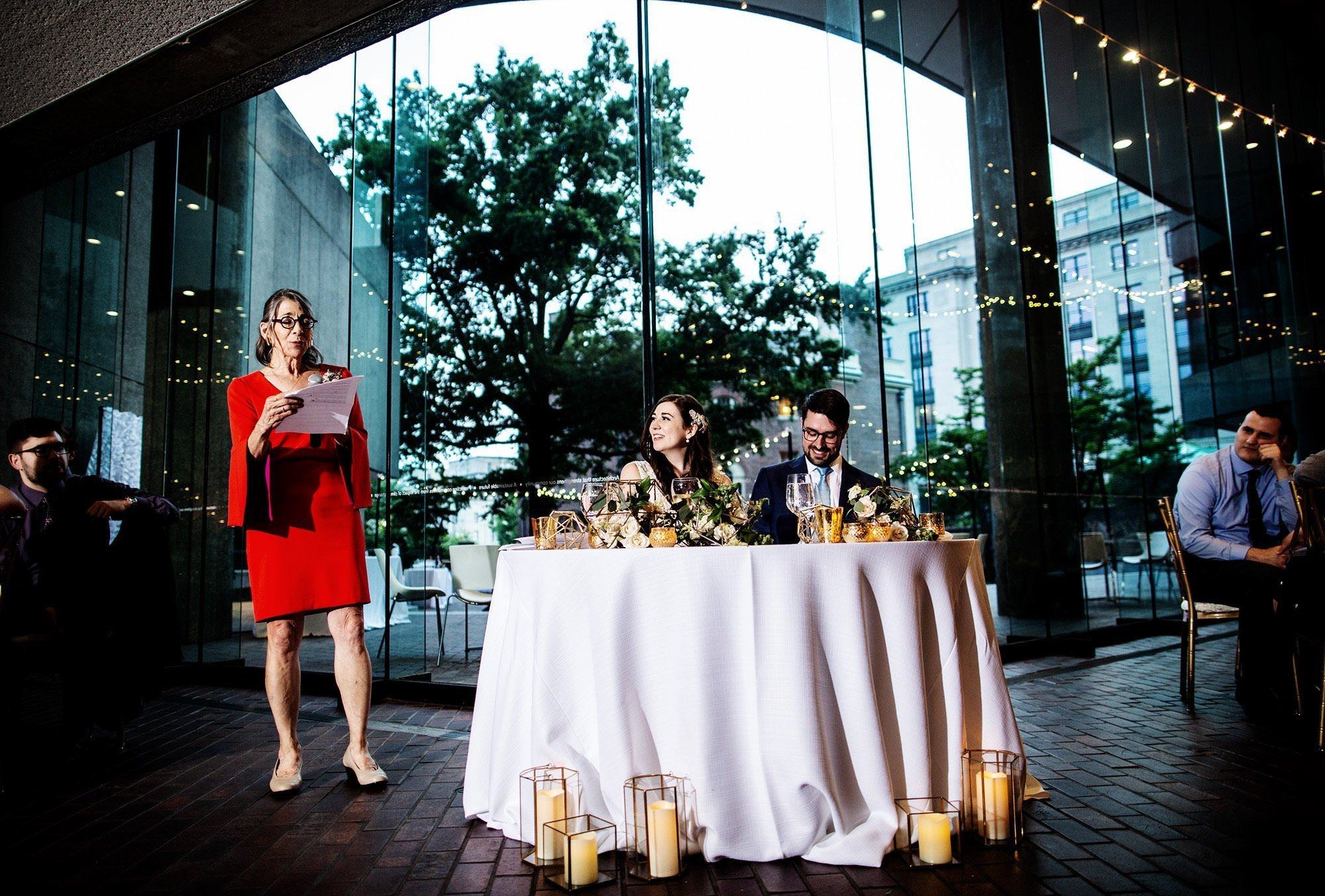 The mother of the bride gives a toast during the American Institute of Architects Wedding reception.