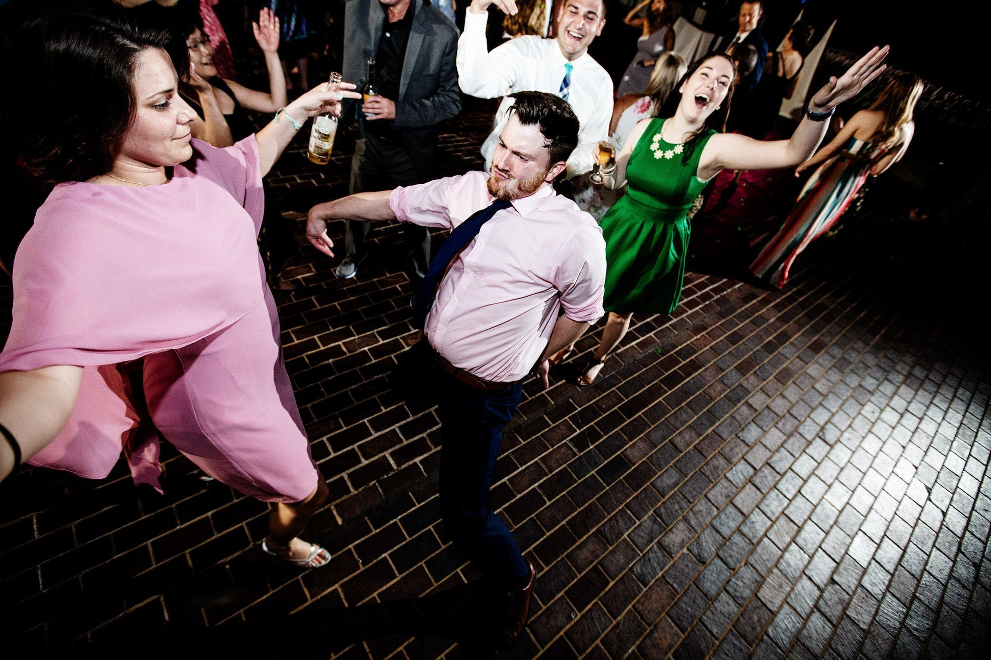 Guests dance during the American Institute of Architects wedding reception.