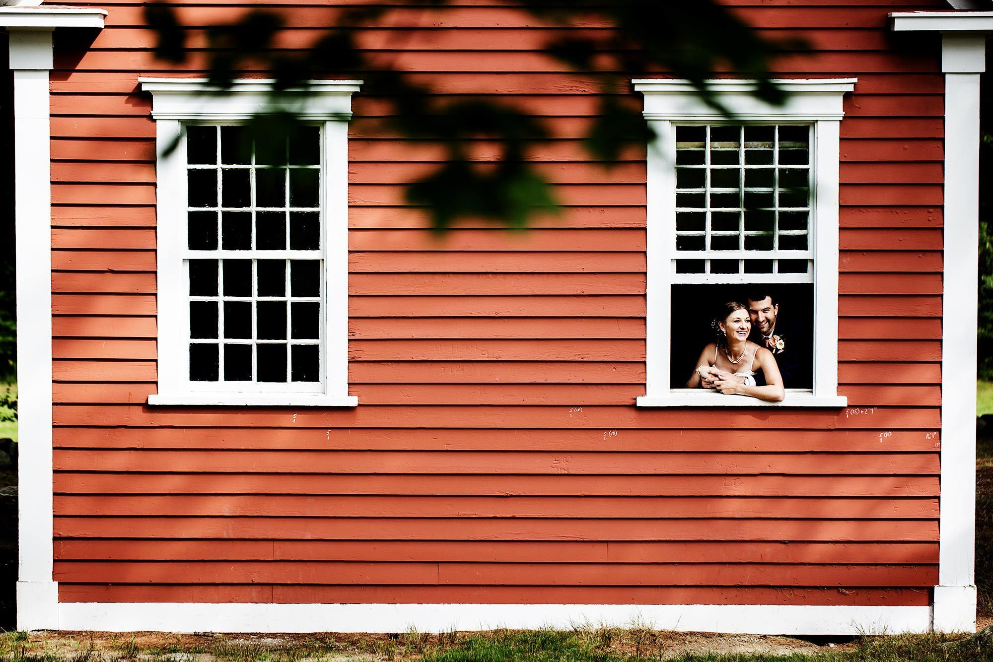 Martha Mary Chapel Wedding  I  The couple pose for a portrait in the schoolhouse at the Wayside Inn in Sudbury, MA.